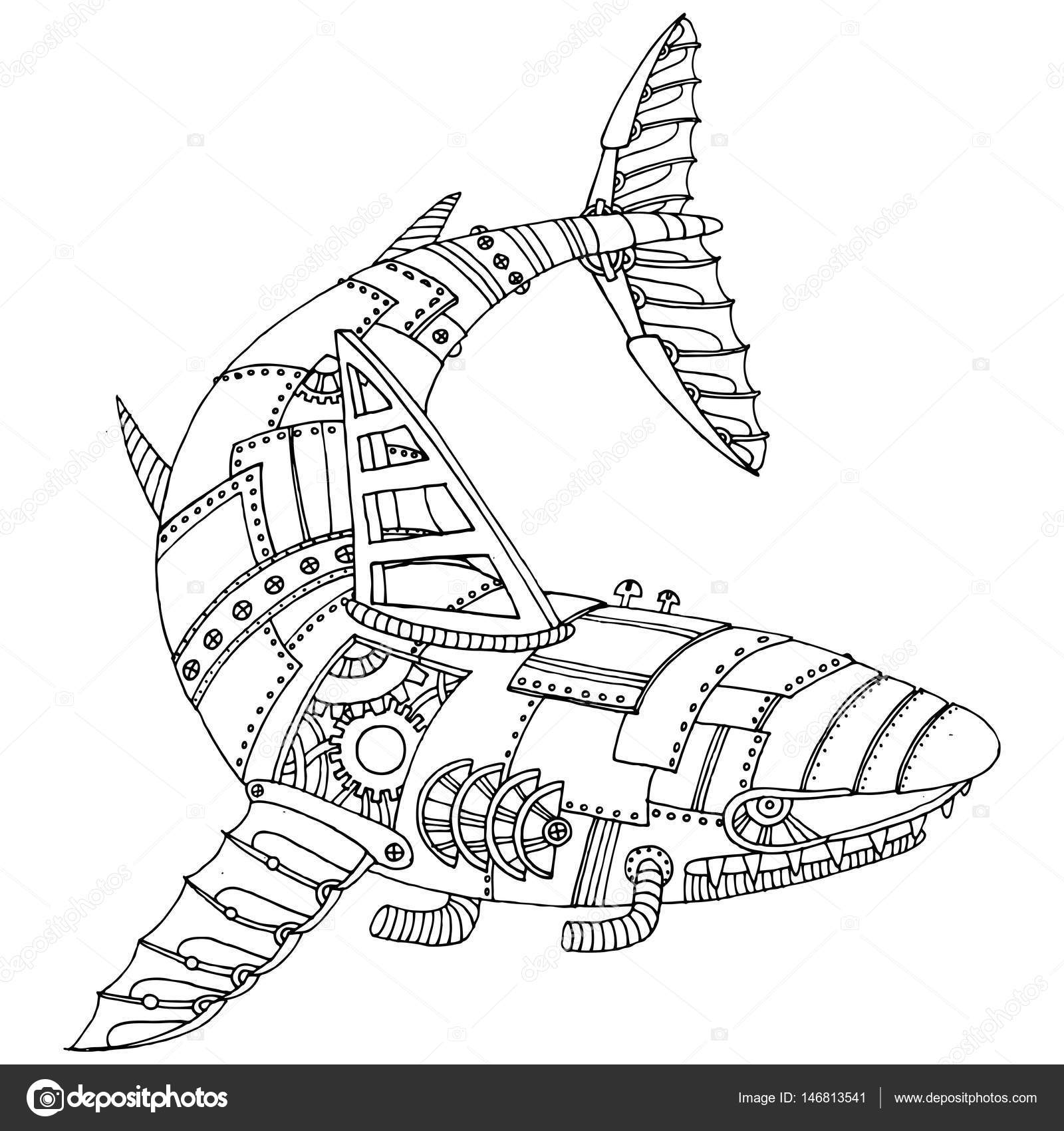 Steam punk style shark coloring book vector — Stock Vector ...