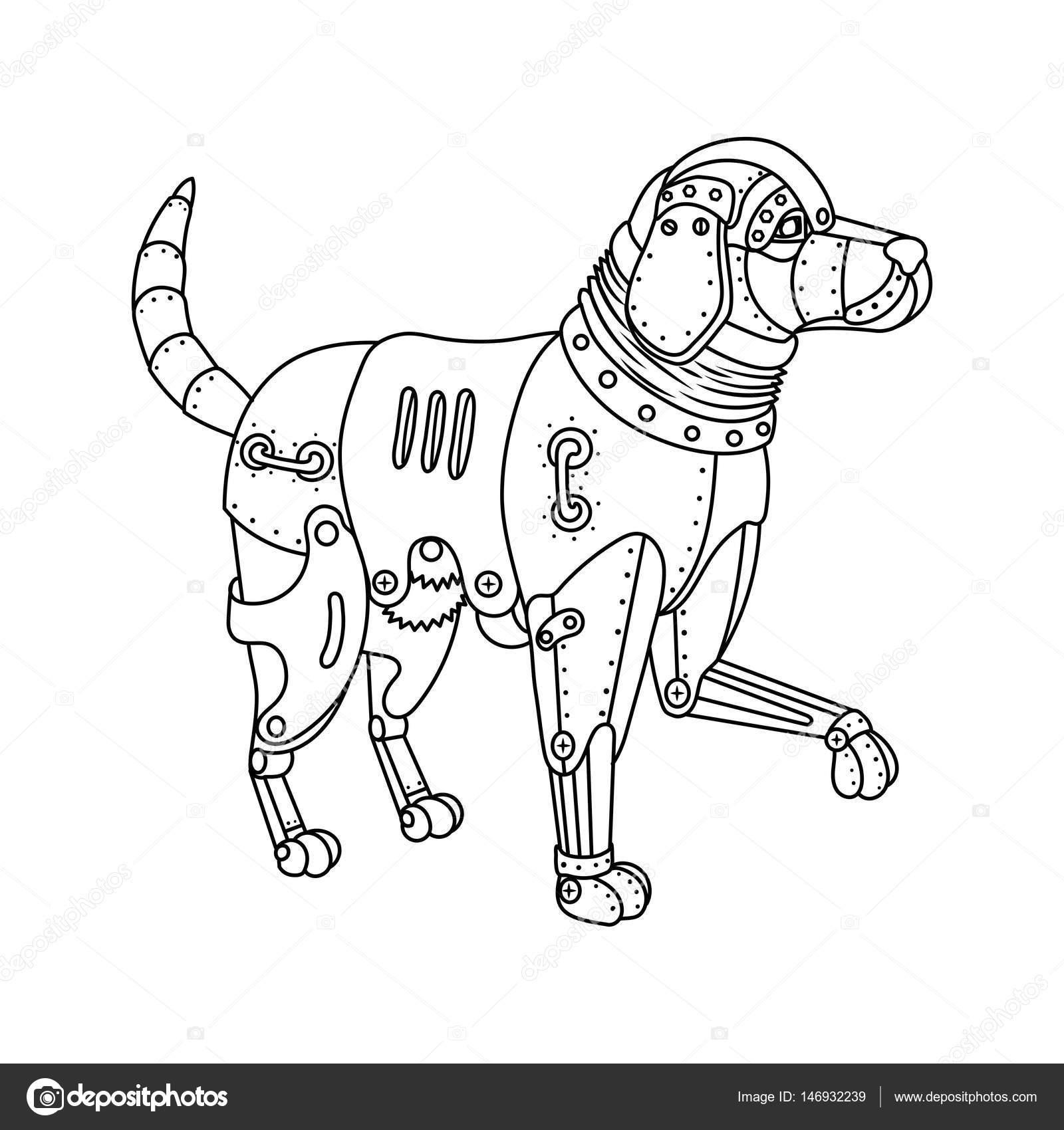 Perro retriever punk de vapor para colorear vector libro — Archivo ...