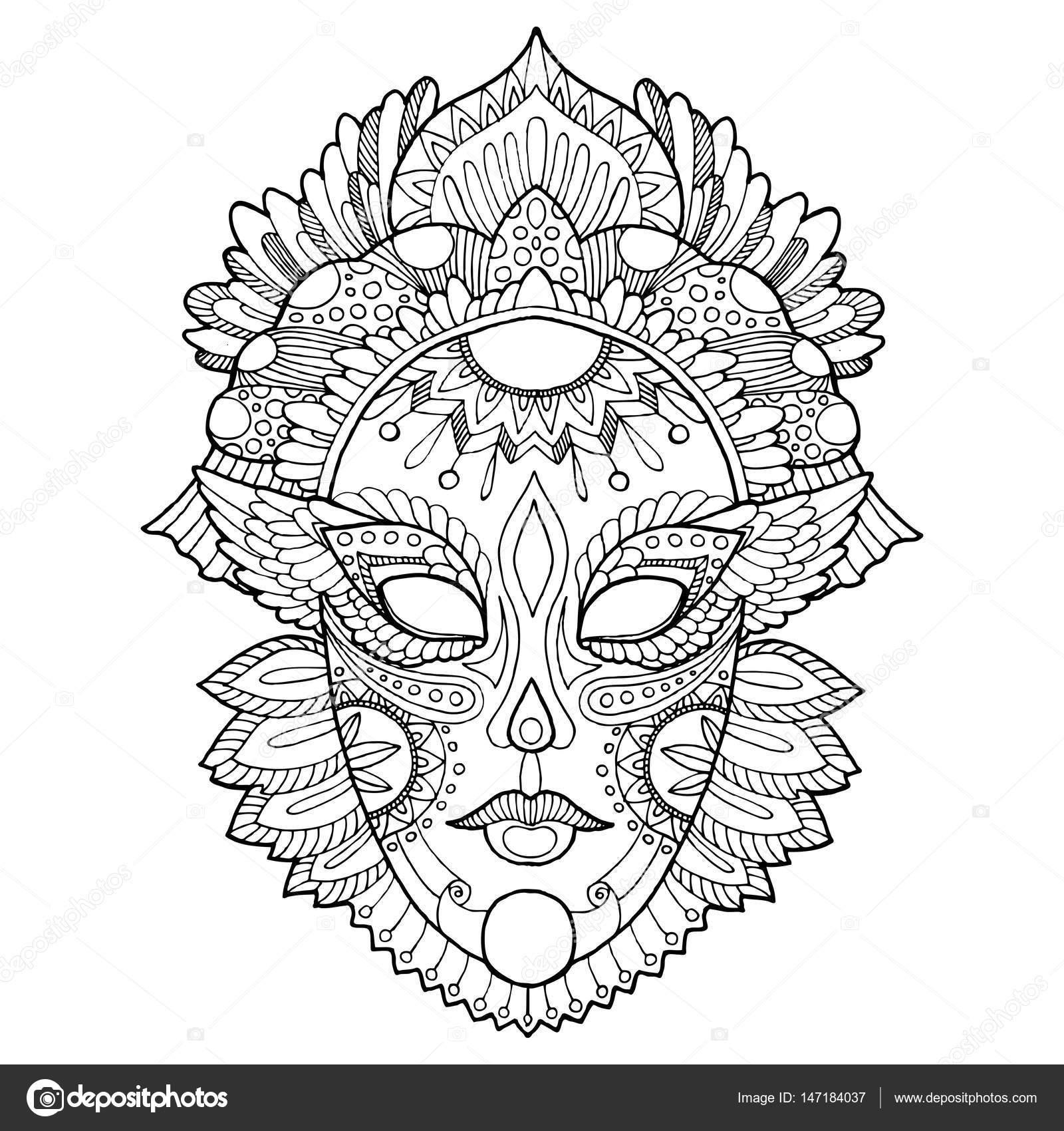 carnaval masker kleurplaat vectorillustratie stockvector