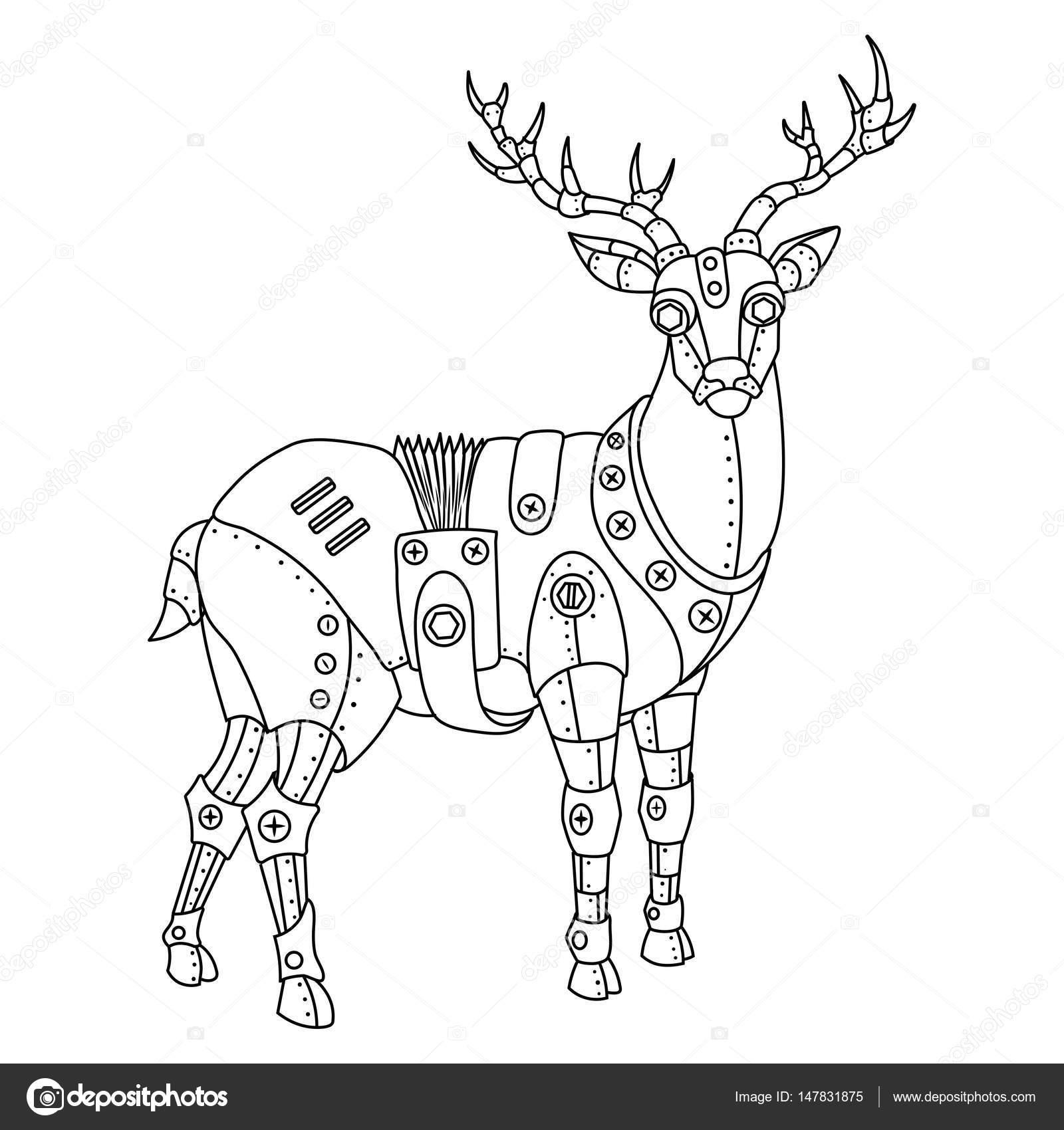 Ciervos punks de vapor para colorear vector libro — Vector de stock ...