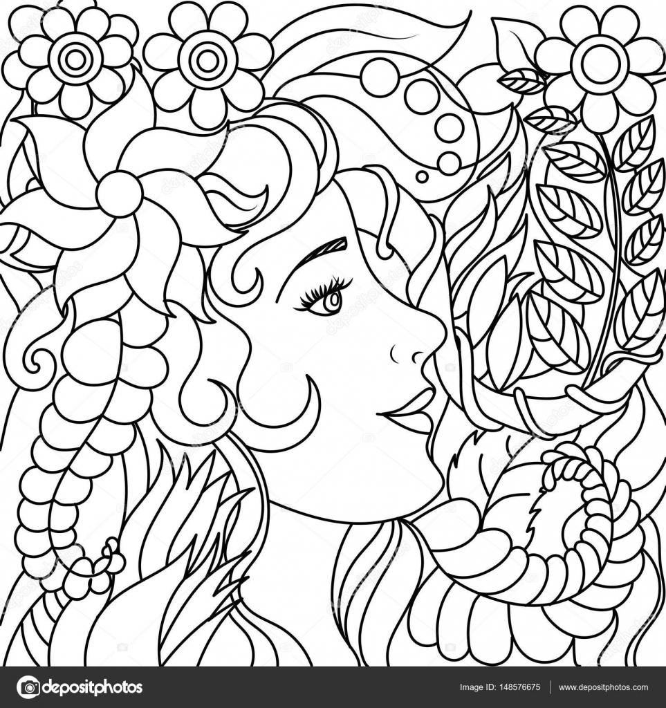 Niña con flores para colorear vector libro — Archivo Imágenes ...