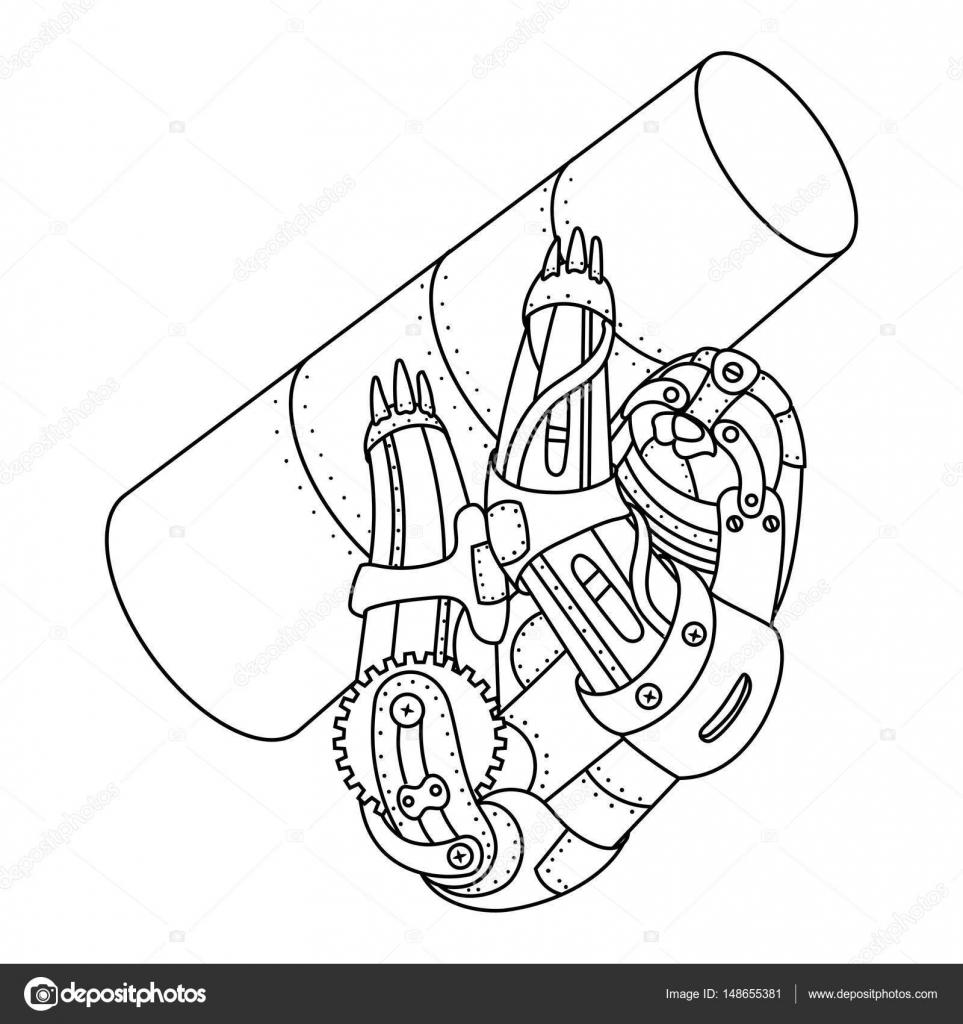 Perezoso punk de vapor para colorear vector libro — Vector de stock ...