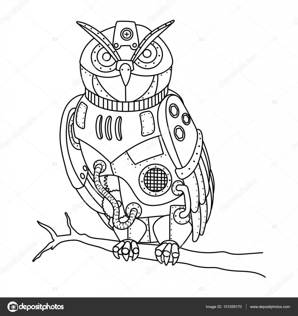 Steampunk style owl coloring book vector — Stock Vector ...