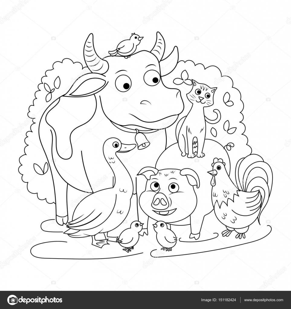 çiftlik Hayvanları Boyama Kitabı çocuk Vektör Için Stok Vektör