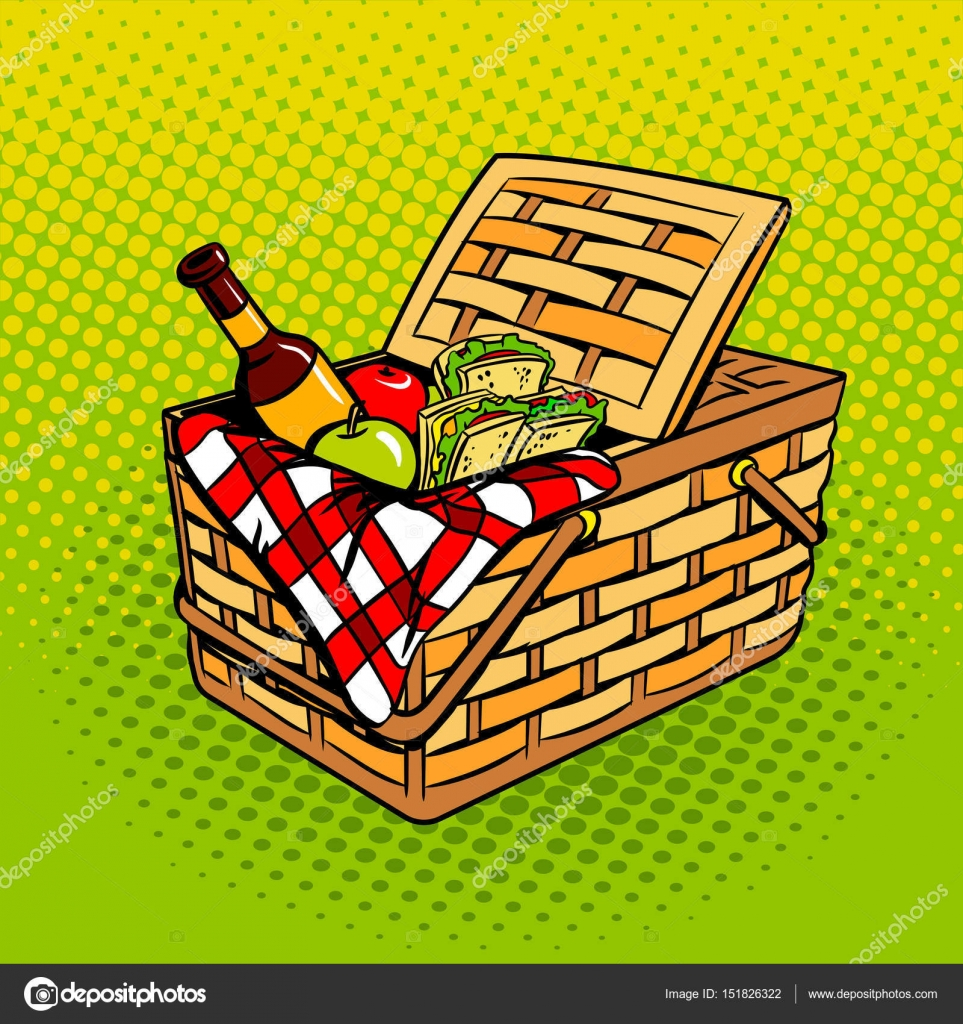 Cesta de picnic con vector de arte pop de productos alimentos ...