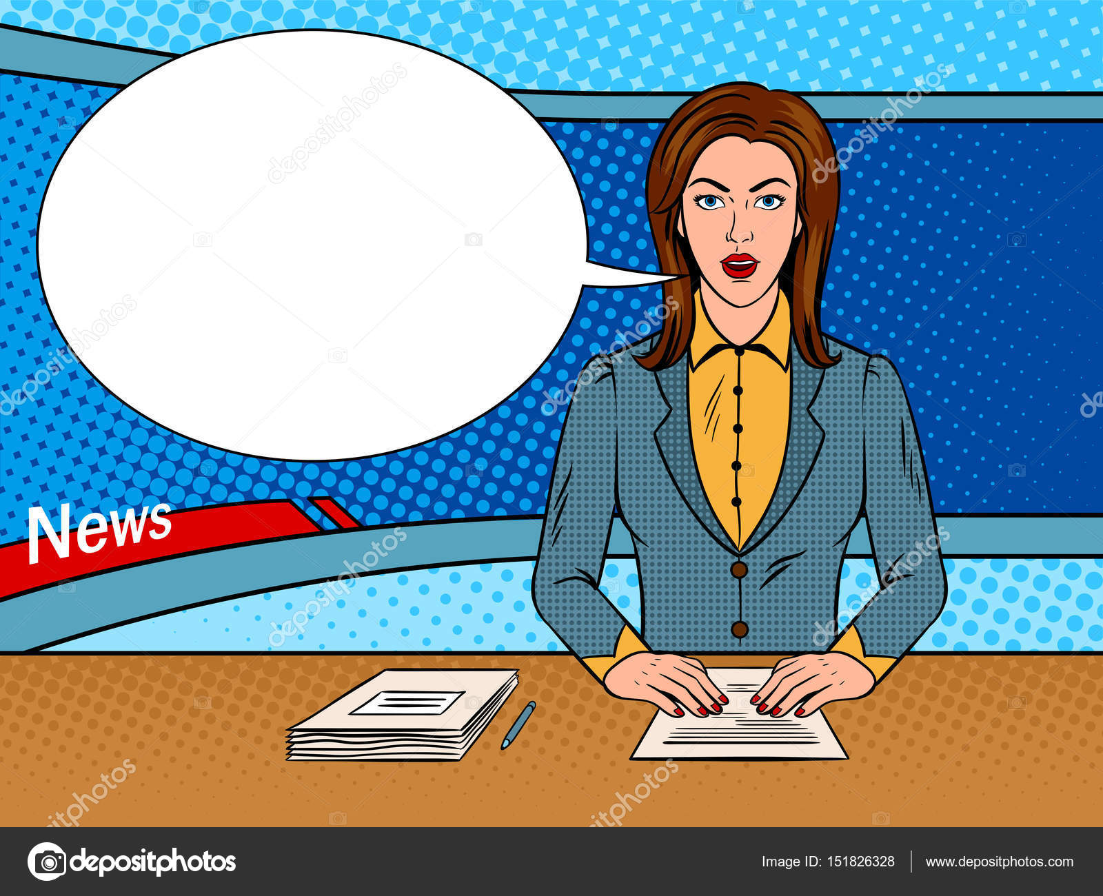 Newsreader Reads News On TV Pop Art Vector Stock