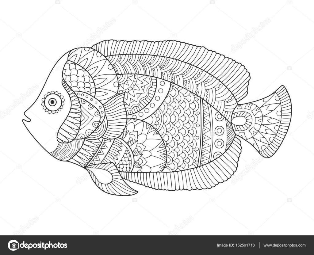 Melek Balığı Kitap Vektör Illustration Boyama Stok Vektör