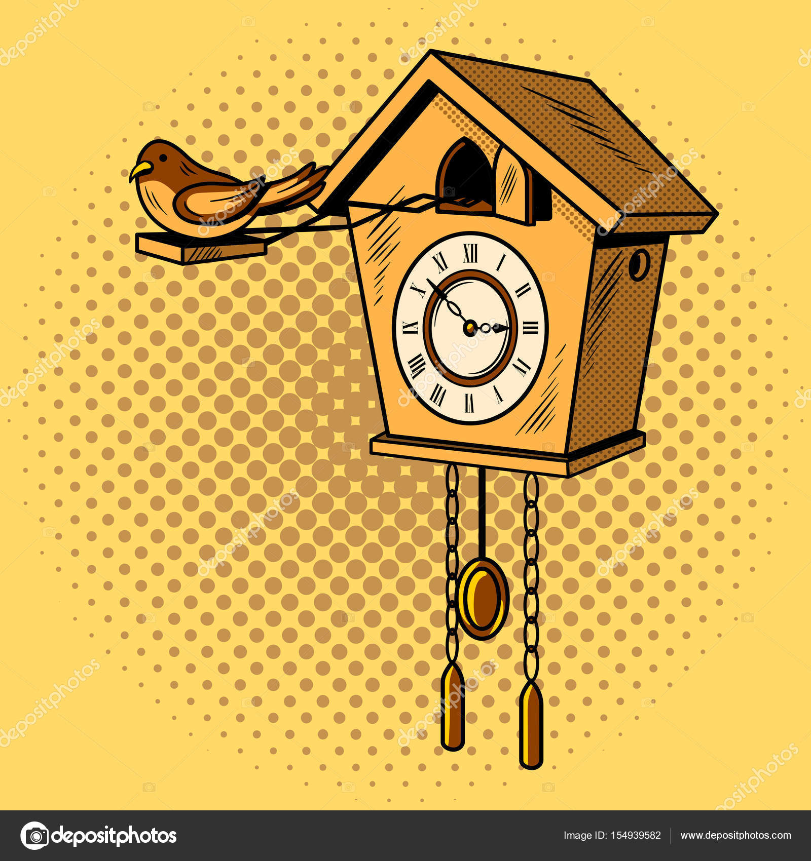26a2733d2e1 Relógio cuco quadrinhos pop arte retrô style vector illustratoin — Vetor de  AlexanderPokusay