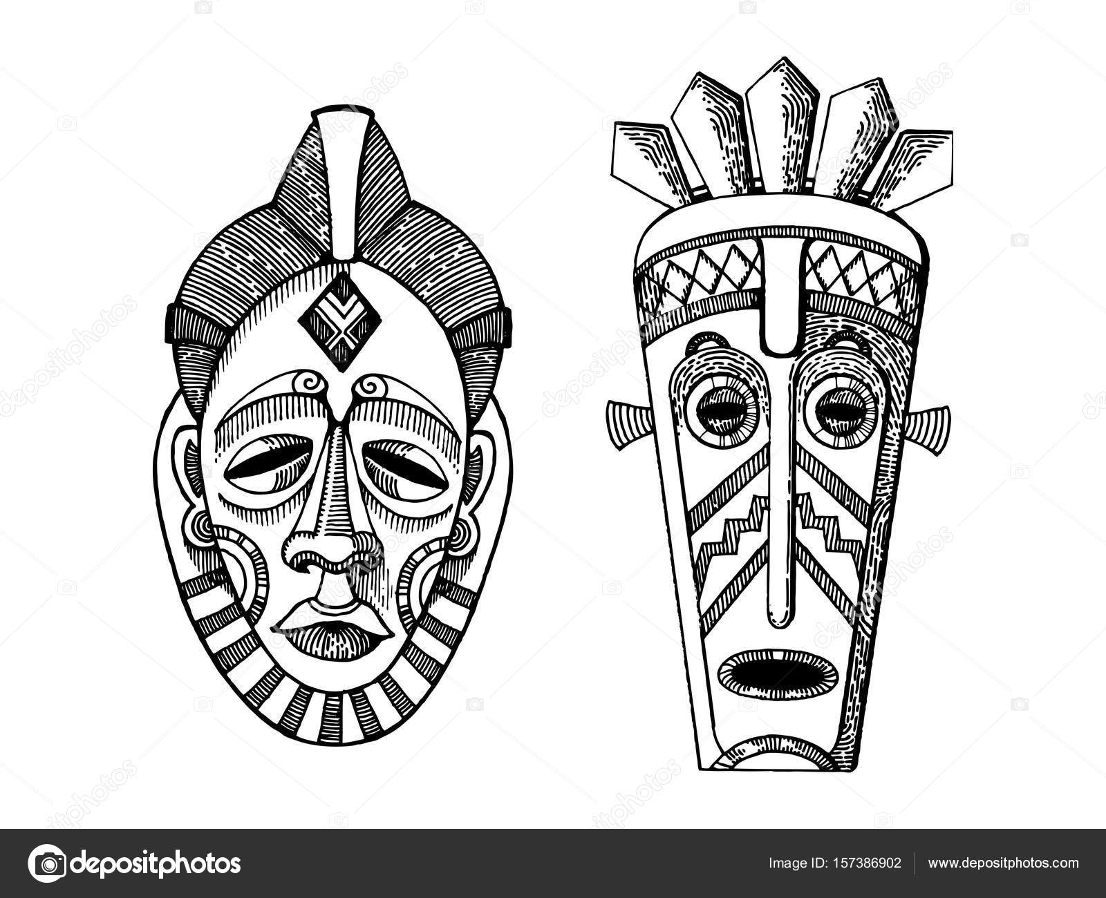 african masks of savages engraving style vector stock vector