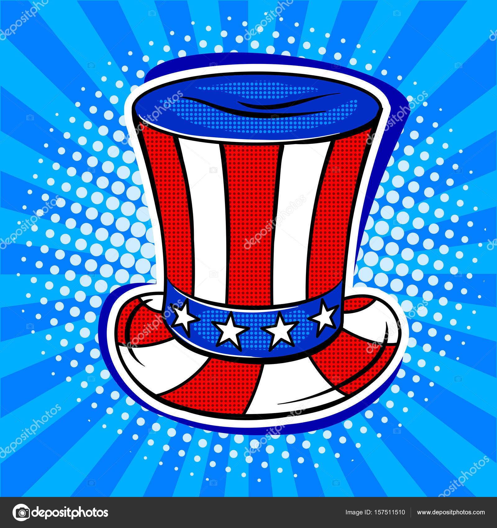Hut in der Färbung der amerikanischen Flagge Pop-Art Vektor ...