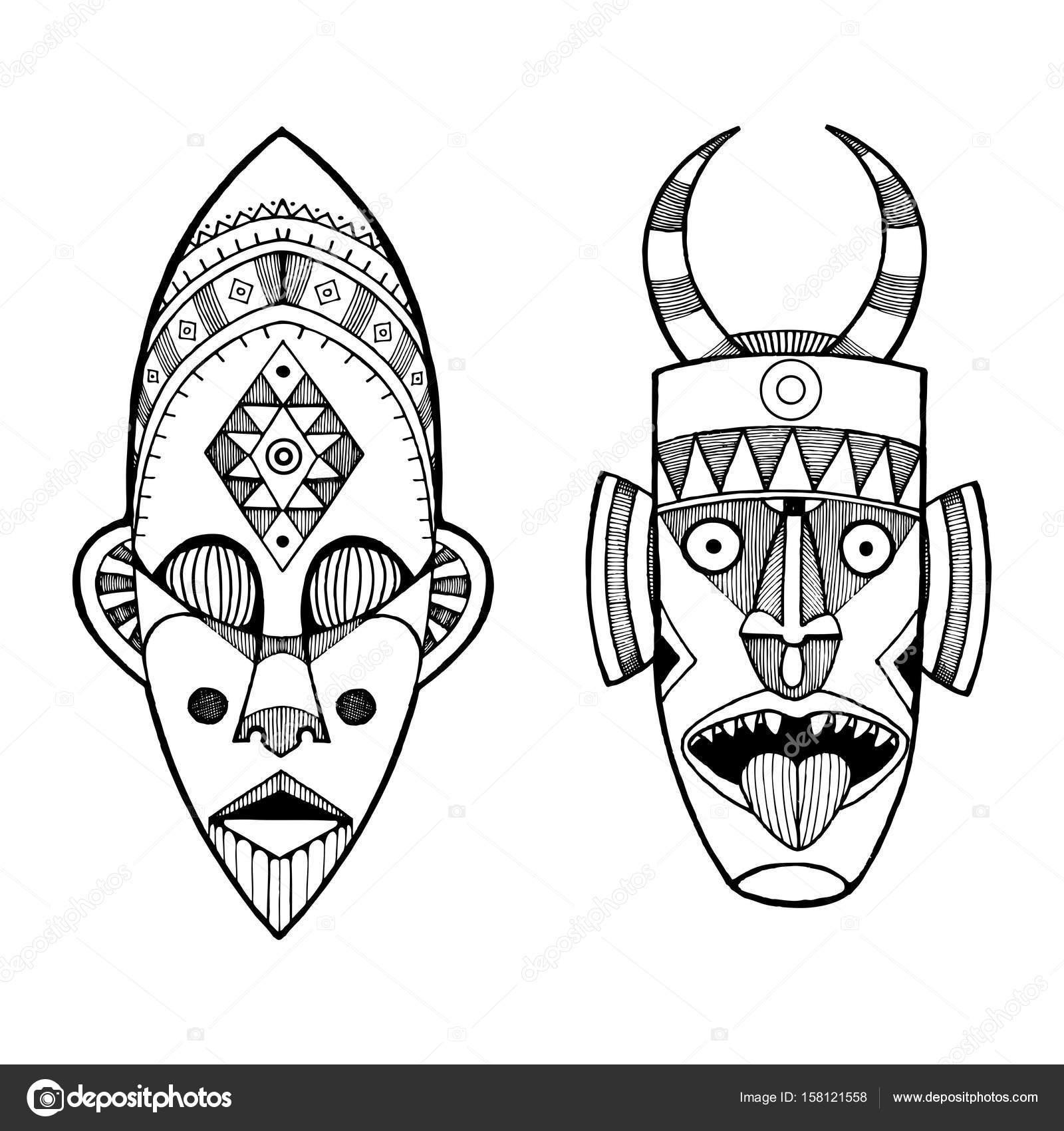 Afrikaanse Maskers Van Savages Gravure Stijl Vector Vectorafbeelding Door C Alexanderpokusay Vectorstock 158121558