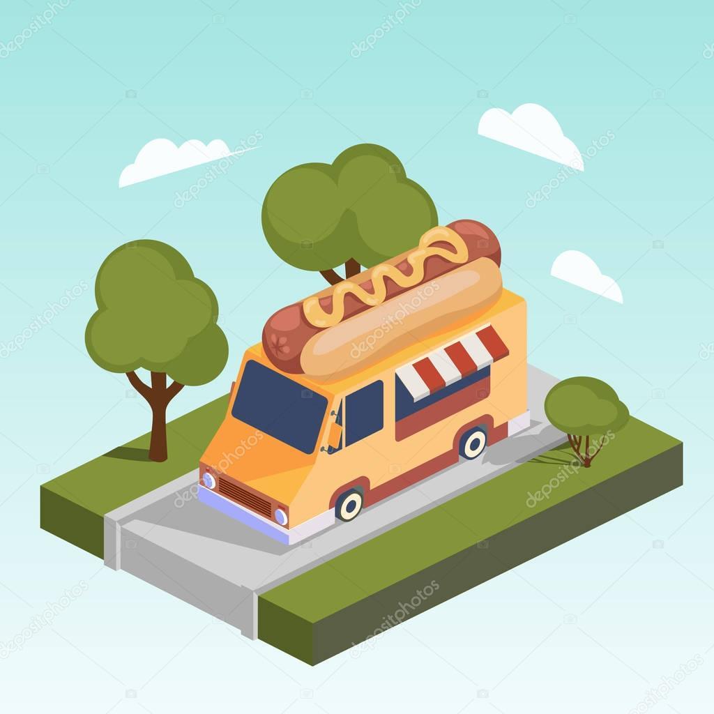 Rychlé občerstvení karavan s hot dog izometrické vektor ...