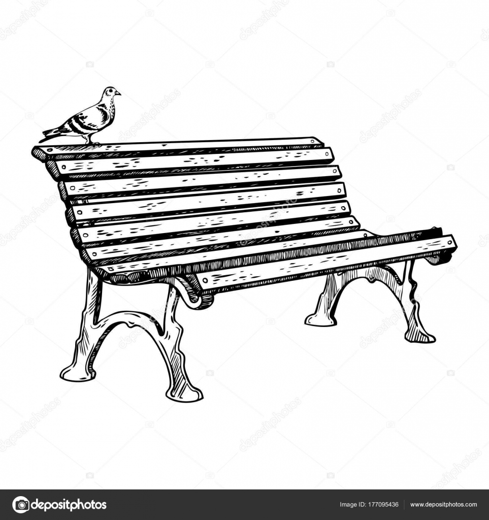 Illustrazione di vettore di Park bench incisione ... Park Bench Clipart Black And White