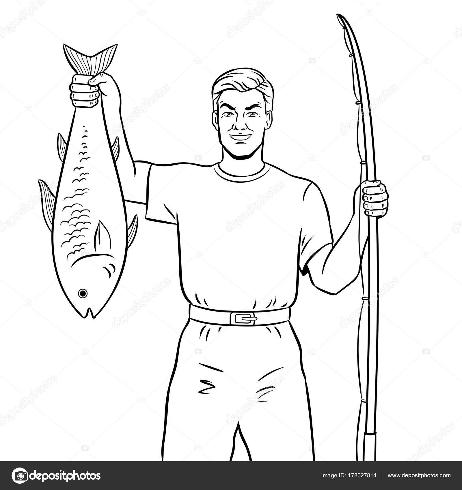 Pescador con pez para colorear vector libro — Vector de stock ...