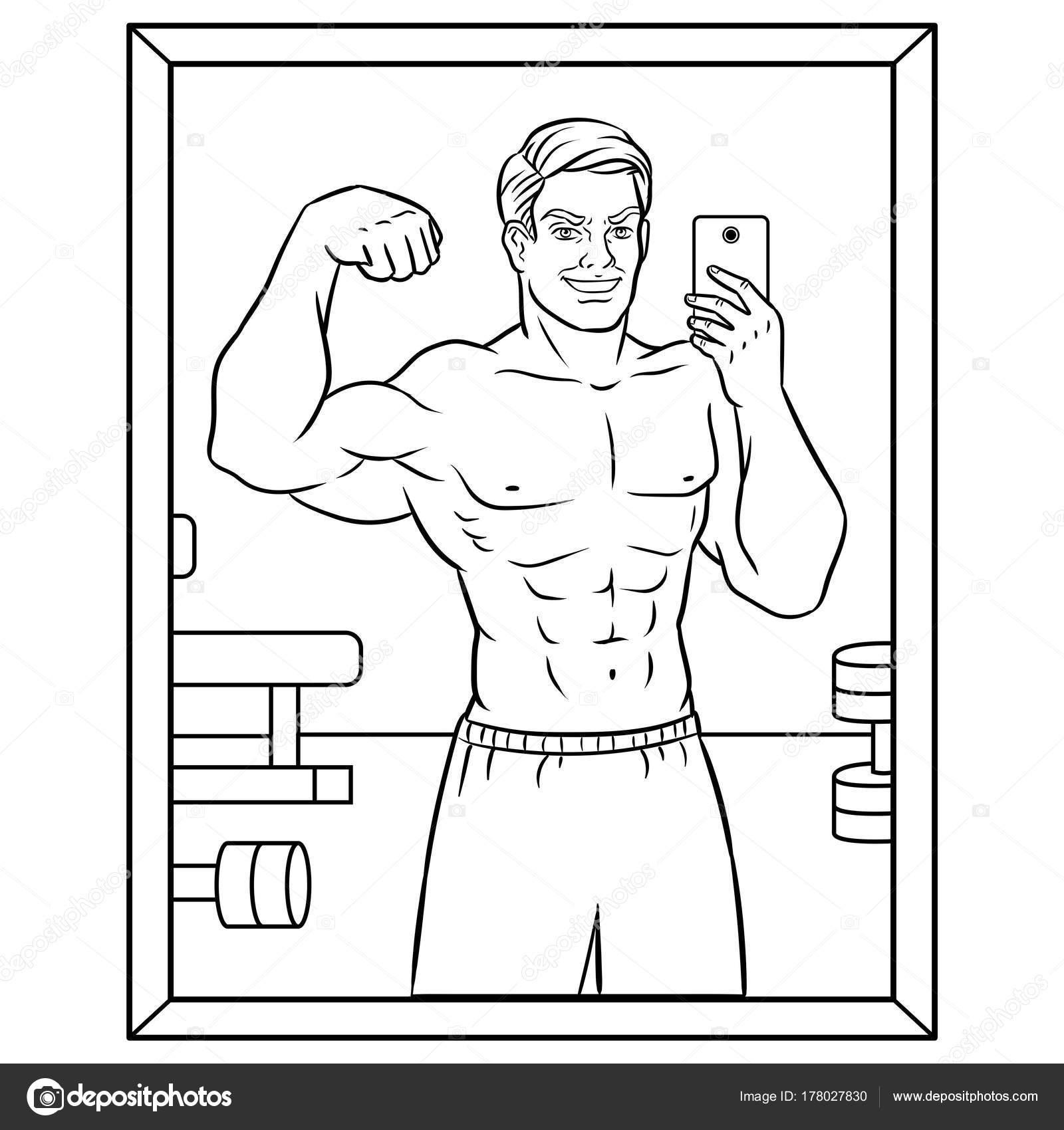 Vücut Oluşturucu Selfie Kitap Vektör Boyama Stok Vektör