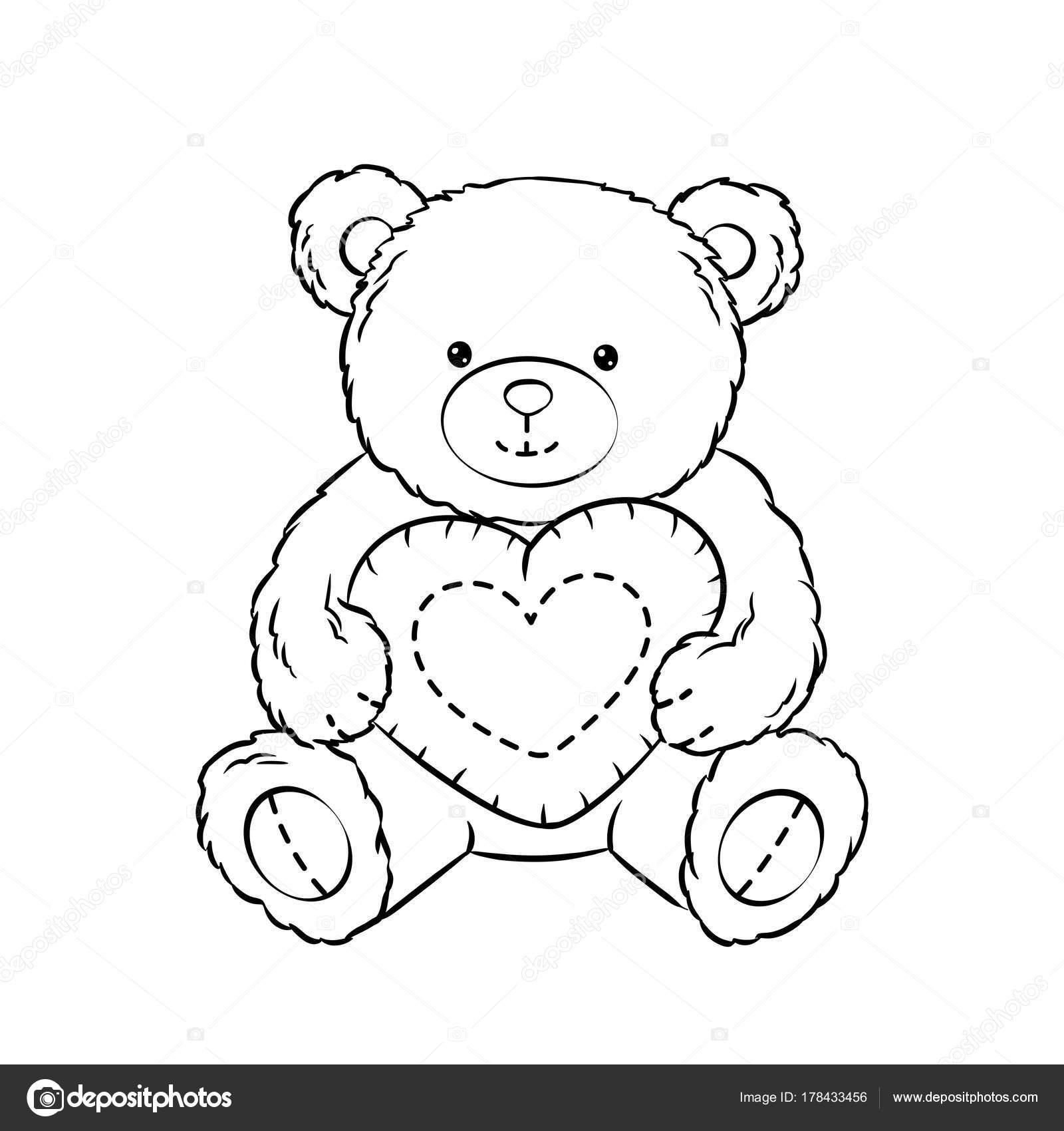 Teddybär Spielzeug mit Herz Färbung Buch Vektor — Stockvektor ...