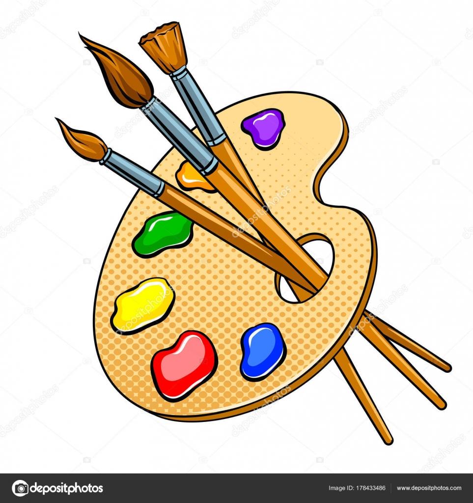 Palette mit Farben und Pinsel Pop-Art-Vektor — Stockvektor ...