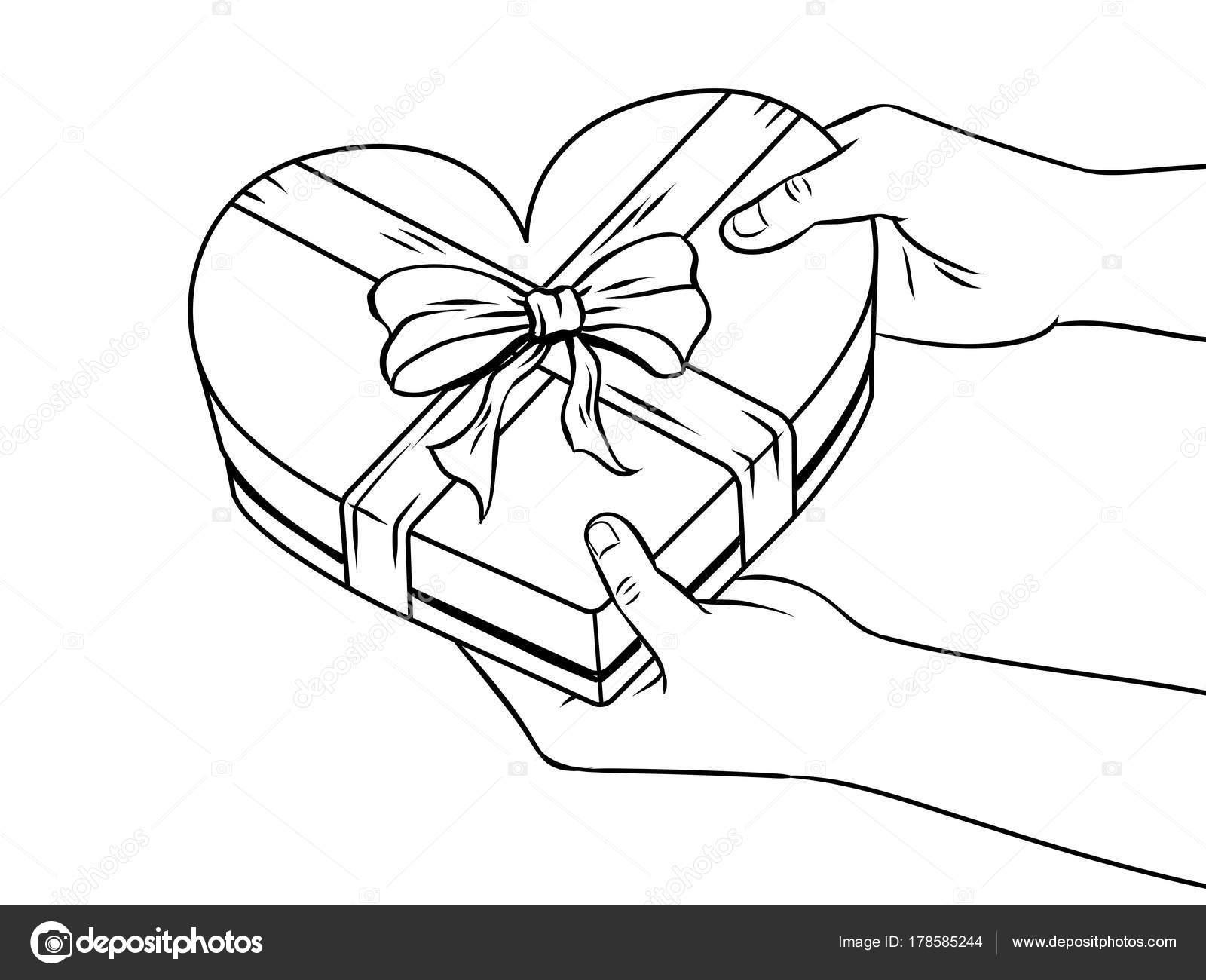 Caja de regalo con forma de corazón rojo para colorear vector libro ...