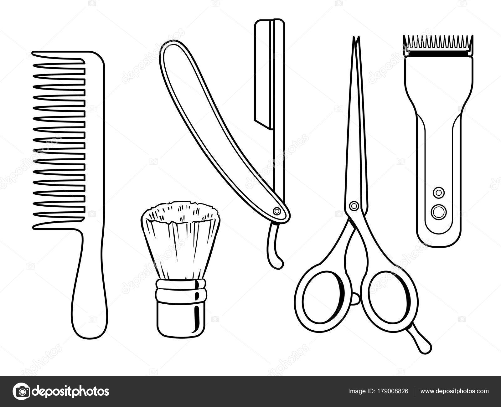 Herramientas de peluquería para colorear vector libro — Archivo ...