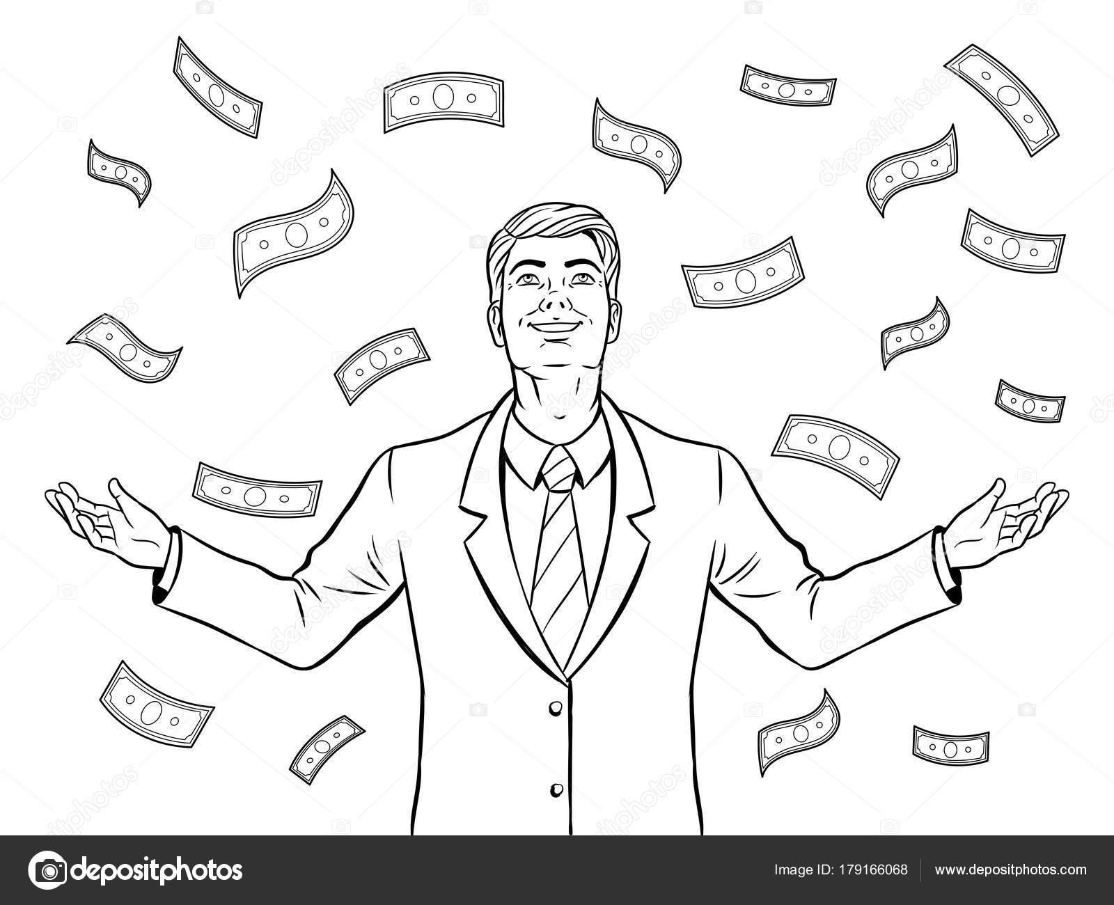Lluvia De Hombre De Negocios Y Dinero Vector De Libro De