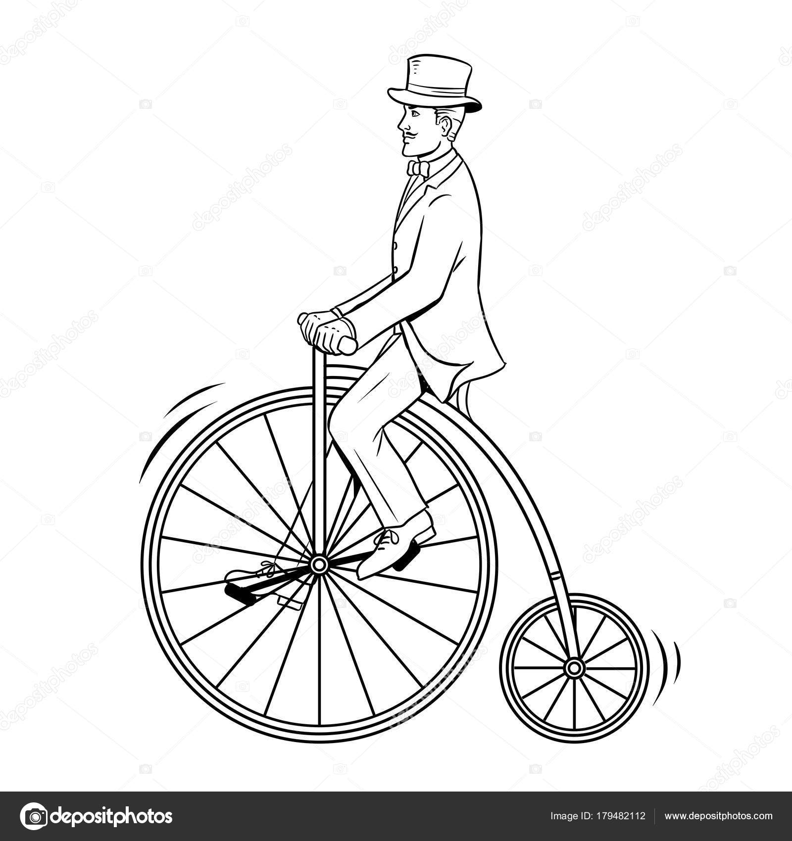 Imágenes Bicicletas Antiguas Para Dibujar Caballero Paseo
