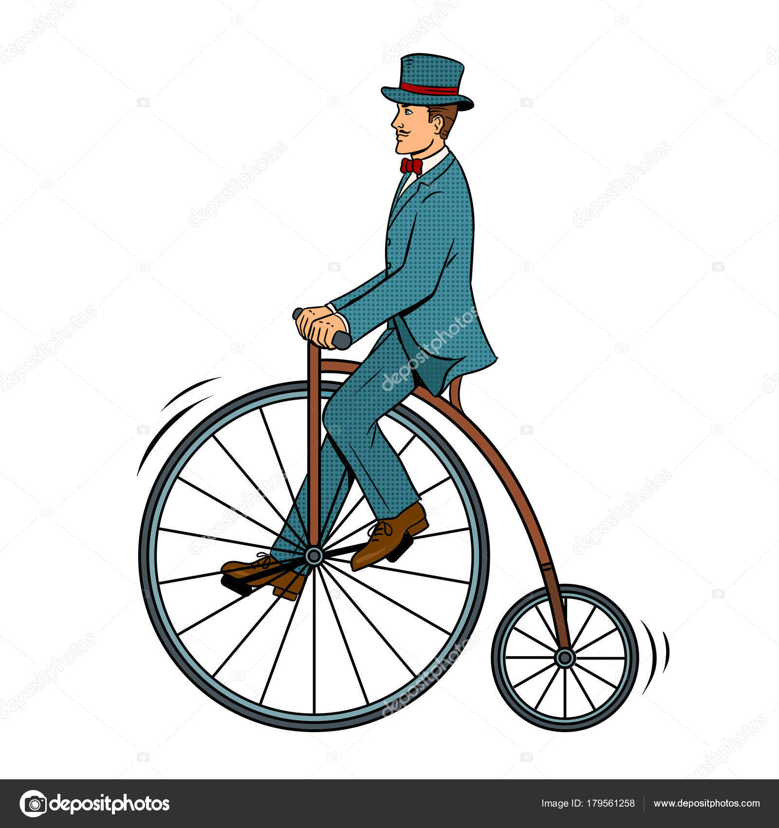 Vector de caballero paseo bicicleta vintage pop art — Archivo ...