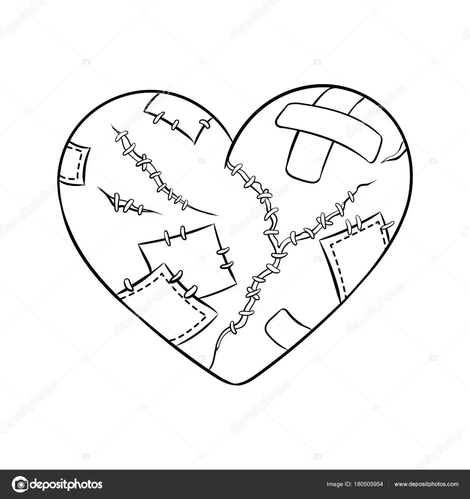 Metáfora de corazón roto para colorear vector libro — Archivo ...
