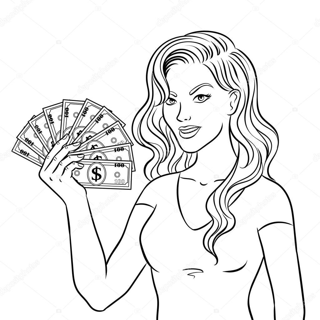 Young Woman With Cash Dollars Coloring Book Stock Vector