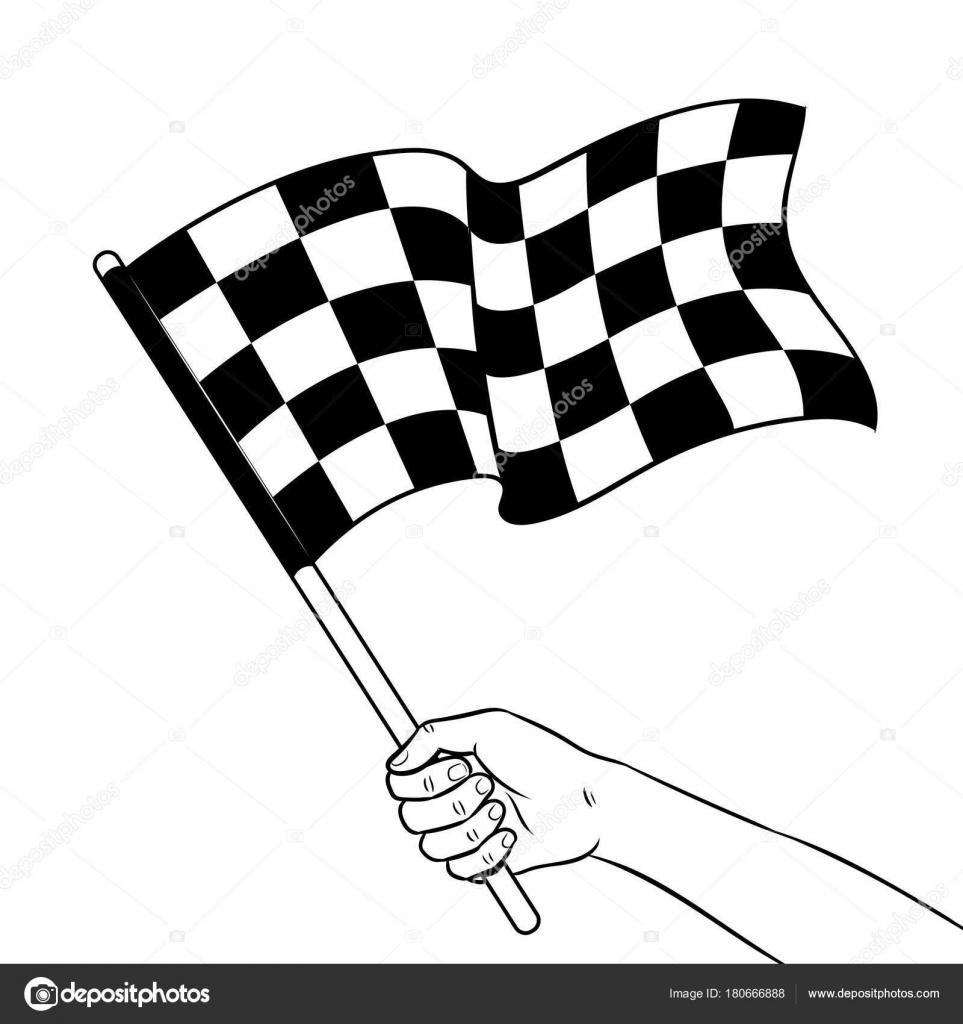 Rennflagge Färbung in der hand Buch Vektor — Stockvektor ...