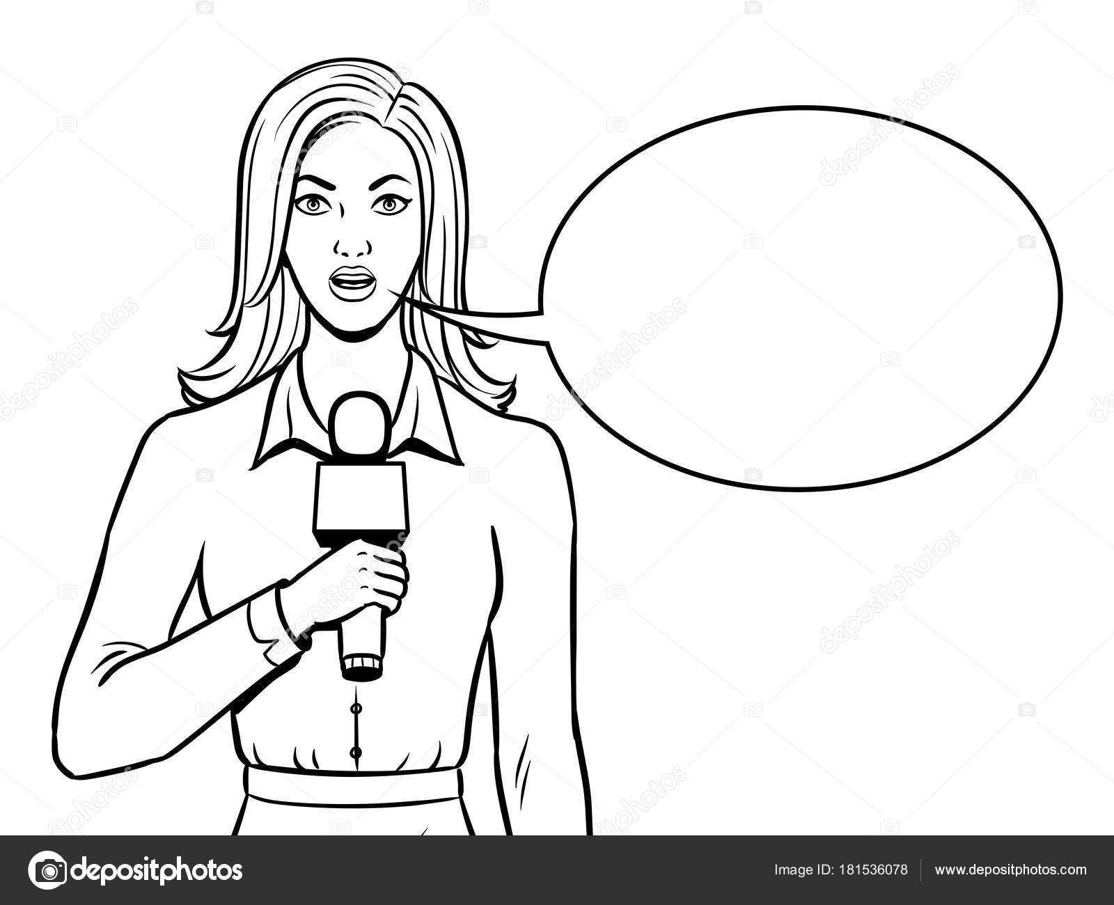Journalist with microphone coloring book vector — Stock Vector ...