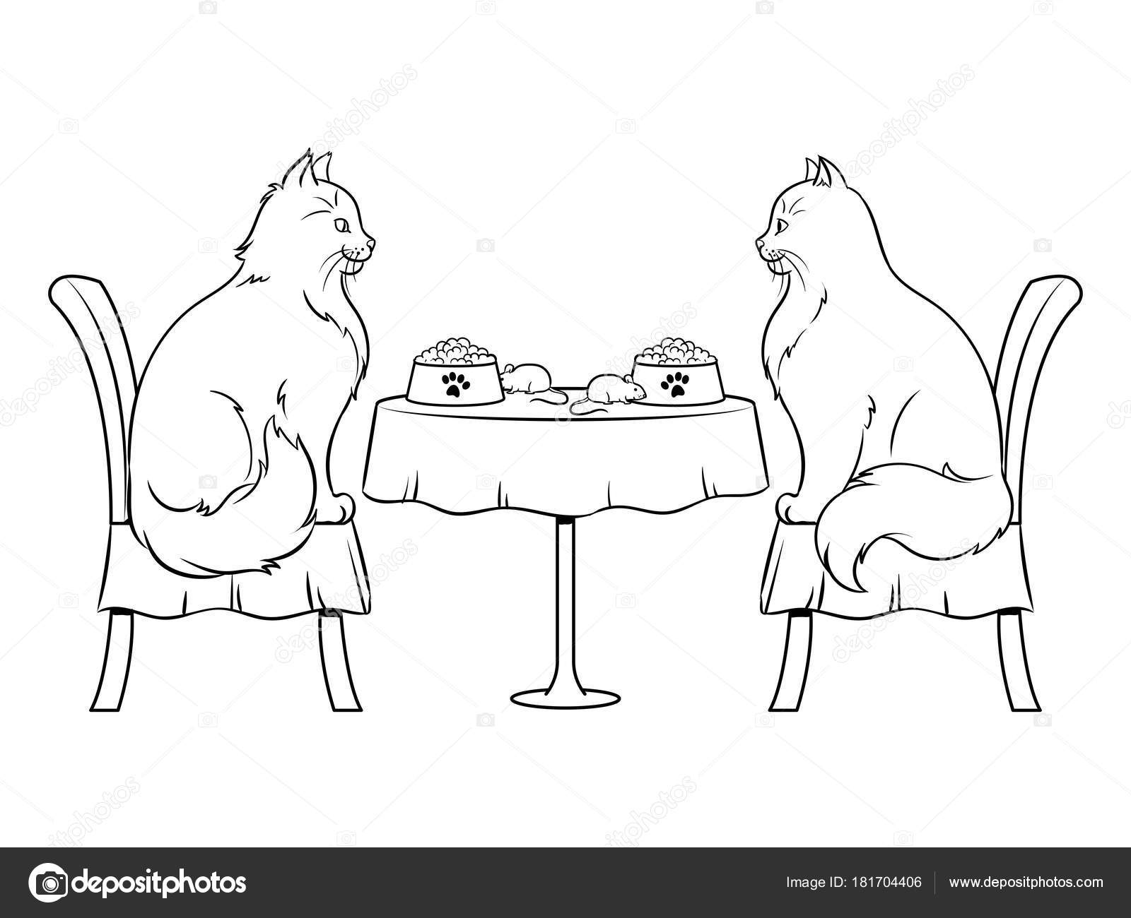 Gatos En Fecha En Restaurante Vector Libro De Colorear Vector De