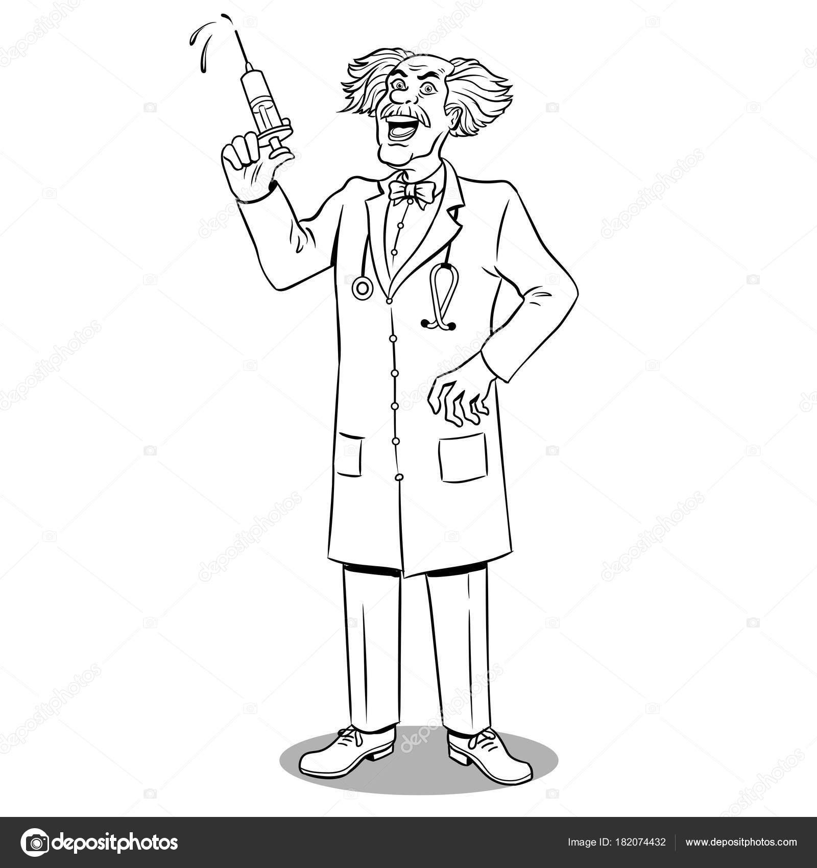 Mad doctor con jeringa para colorear vector libro — Archivo Imágenes ...