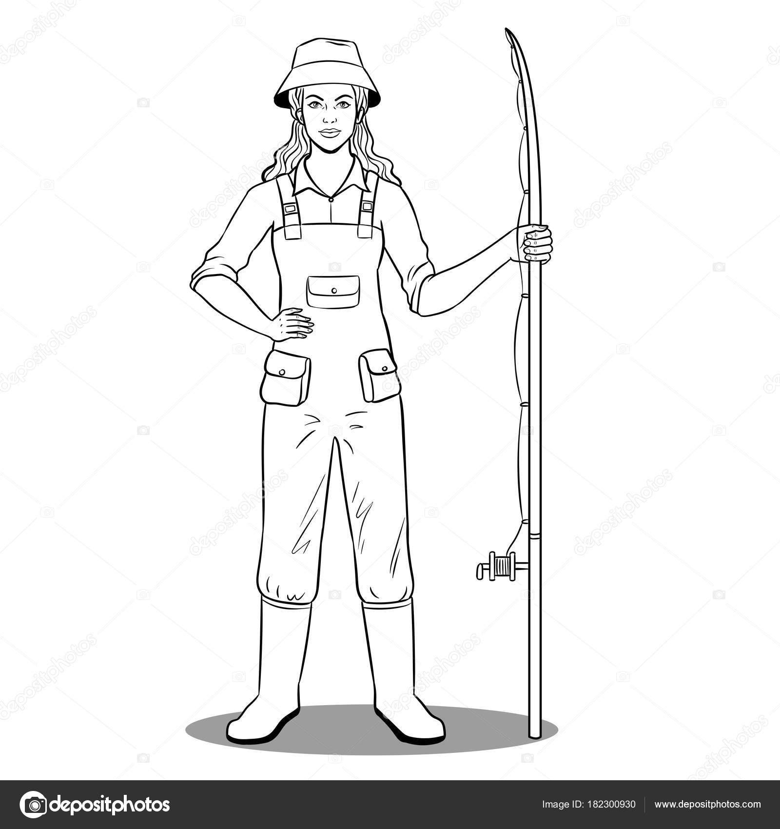 Muchacha del pescador para colorear vector libro — Archivo Imágenes ...