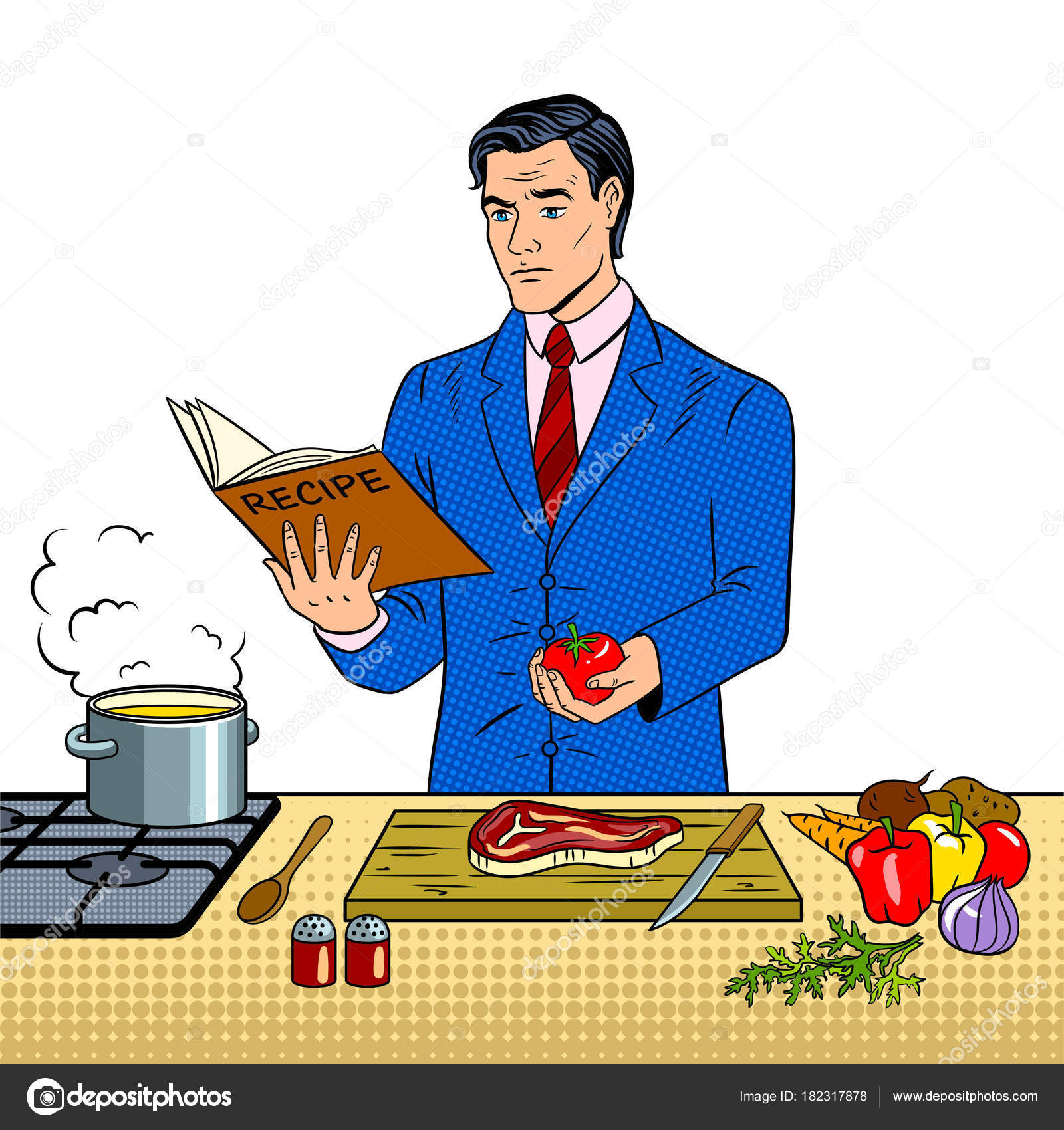 Man in business suit cooking food pop art vector stock vector businessman cooking food pop art retro vector illustration isolated image on white background comic book style imitation vector by alexanderpokusay forumfinder Images