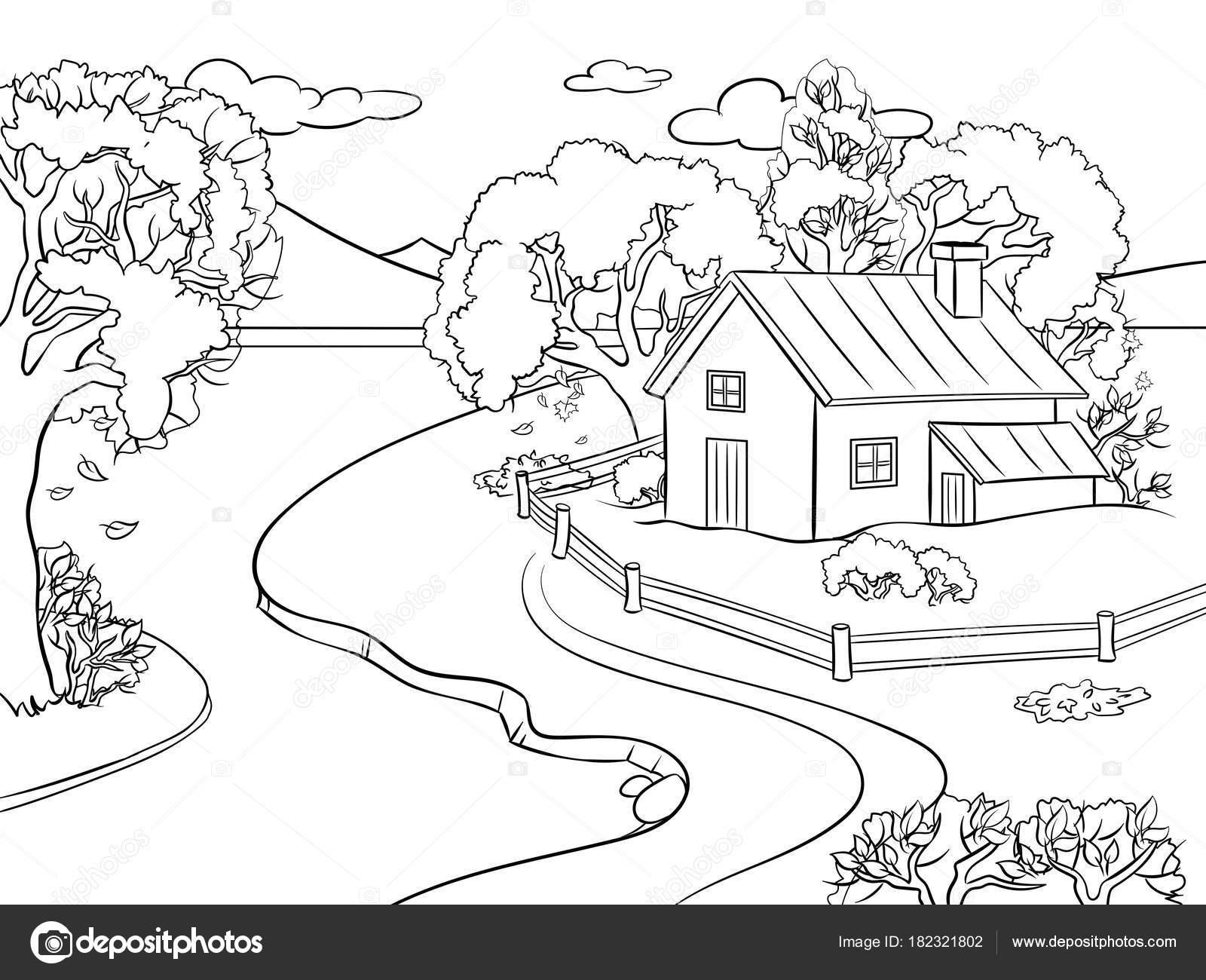 Dibujo De La Palabra Otoño Para Colorear Con Los Niños: Imágenes: Paisajes De Otoño Para Dibujar