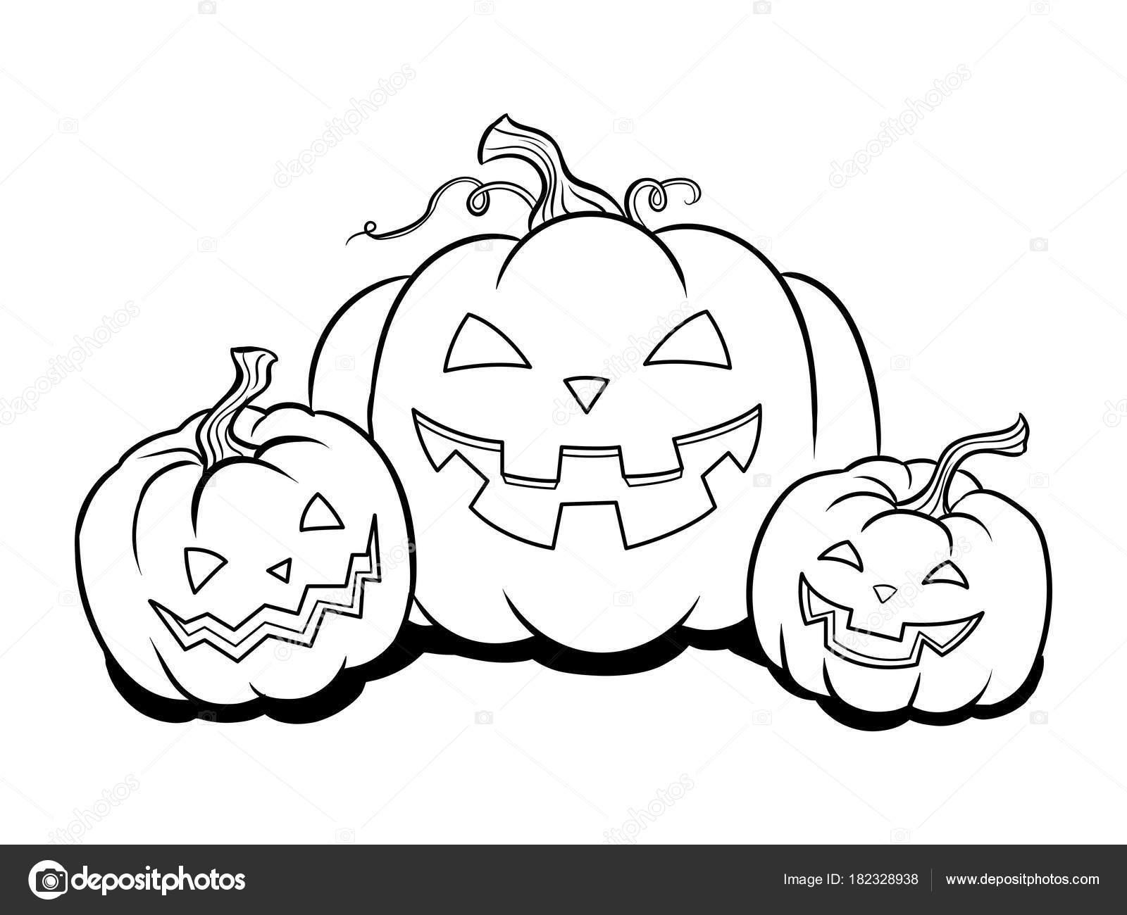 Halloween calabaza para colorear vector libro — Vector de stock ...