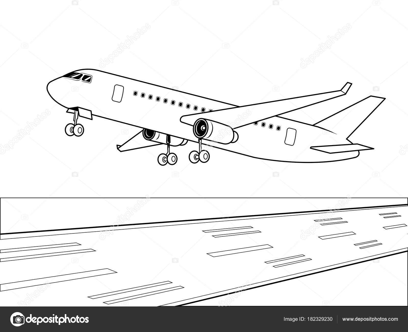 pouso de avião vetor de livro de colorir vetores de stock