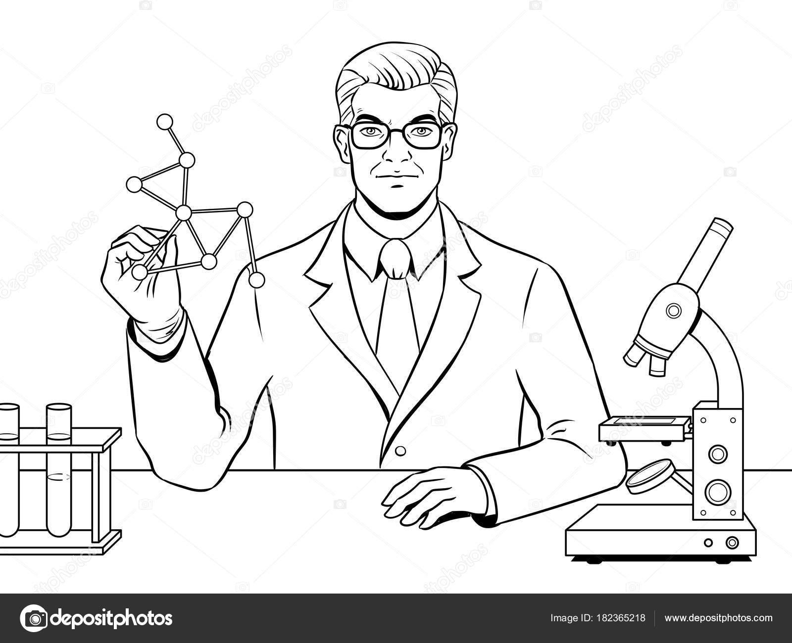 Científico Médico Químico Para Colorear Vector Libro Vector De