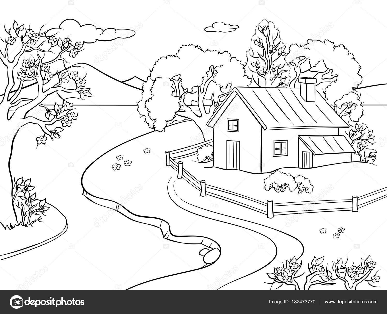 Animado: paisaje colorear | Paisaje de primavera para colorear