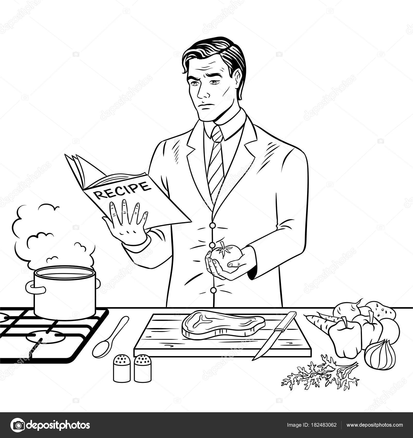 Man cooking food coloring book vector stock vector businessman cooking food coloring vector illustration isolated image on white background comic book style imitation vector by alexanderpokusay forumfinder Image collections
