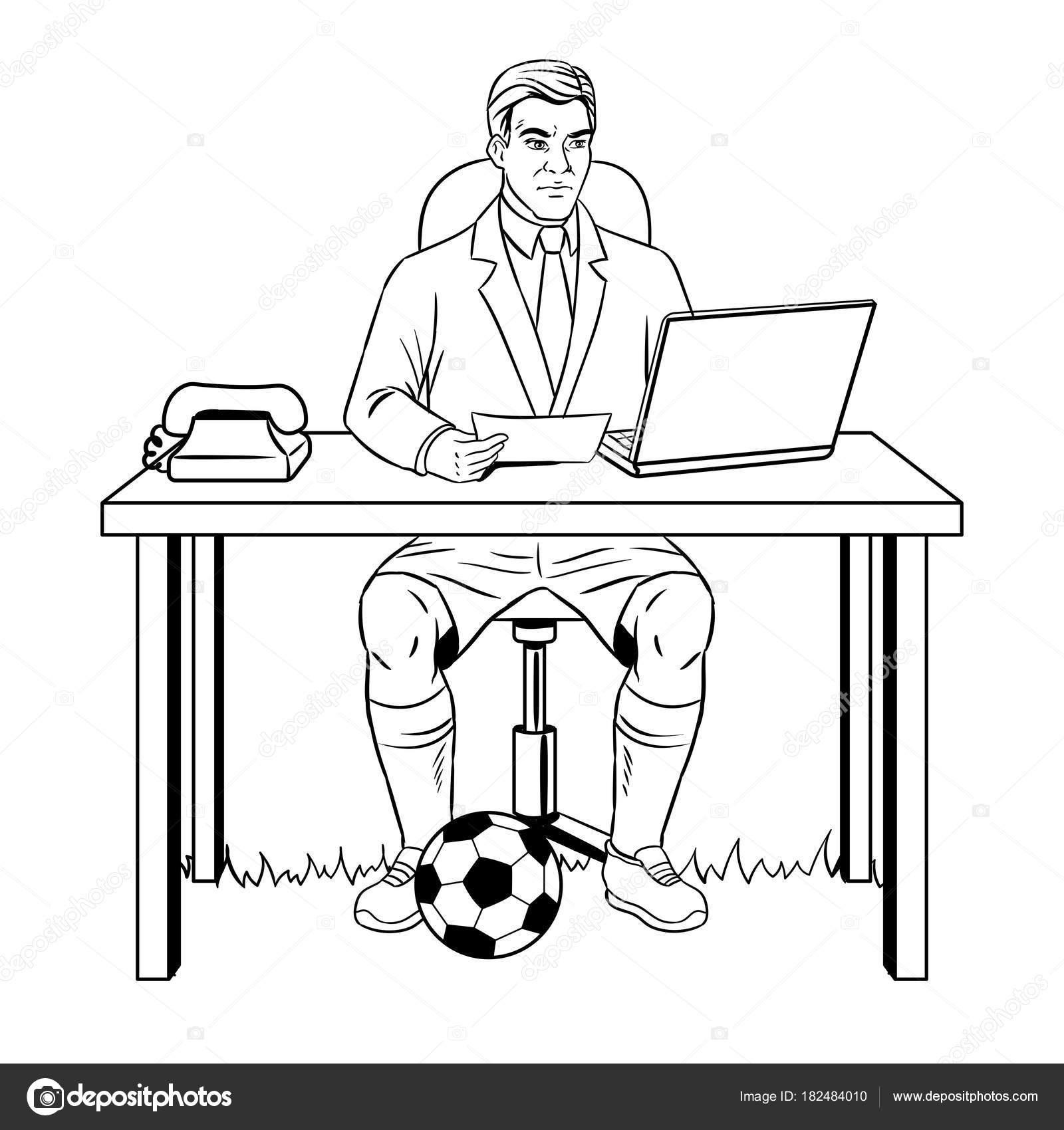 Businessman soccer coloring book vector — Stock Vector ...
