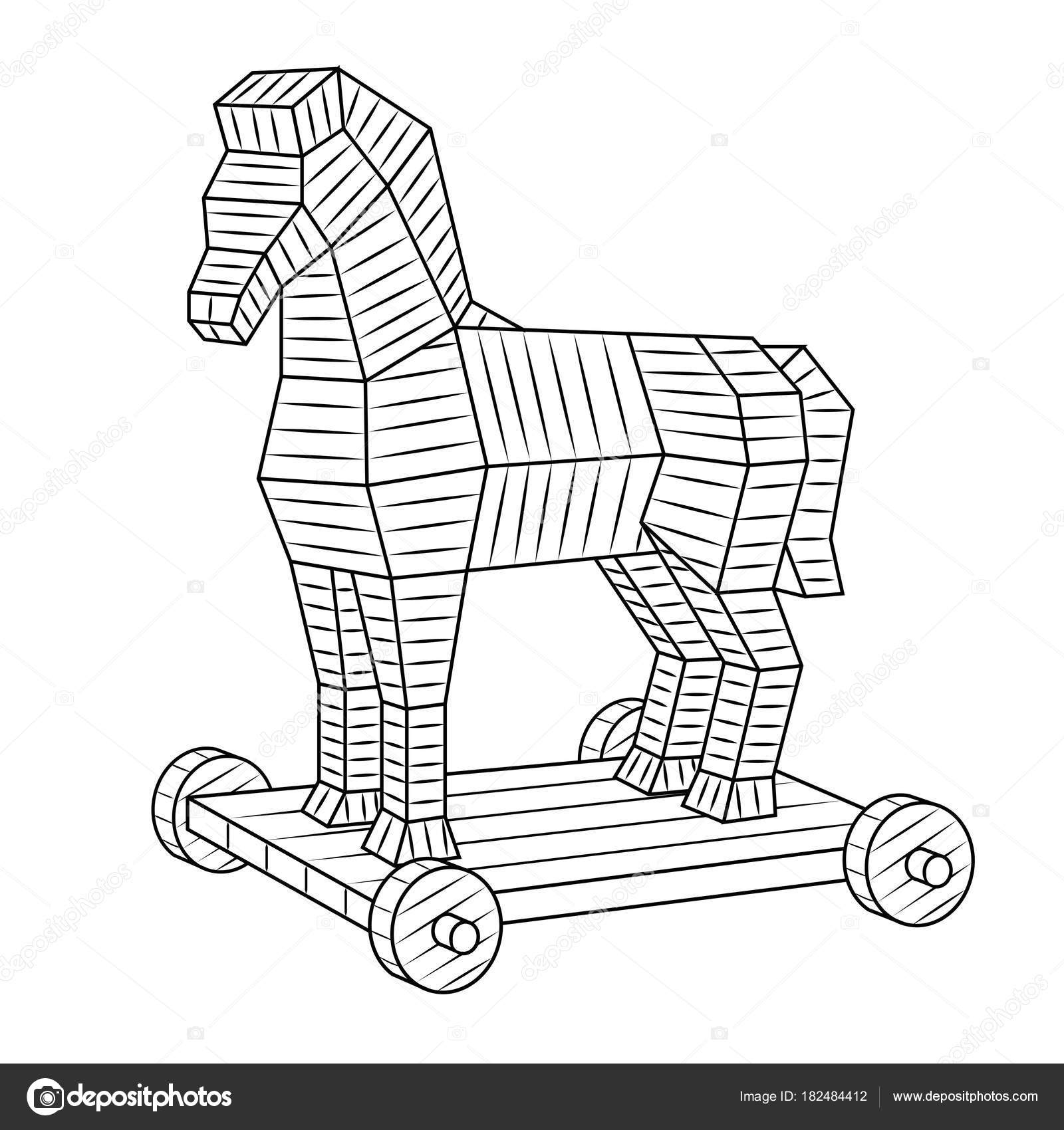 Cheval de troie vecteur de livre colorier image - Dessin facile de cheval ...