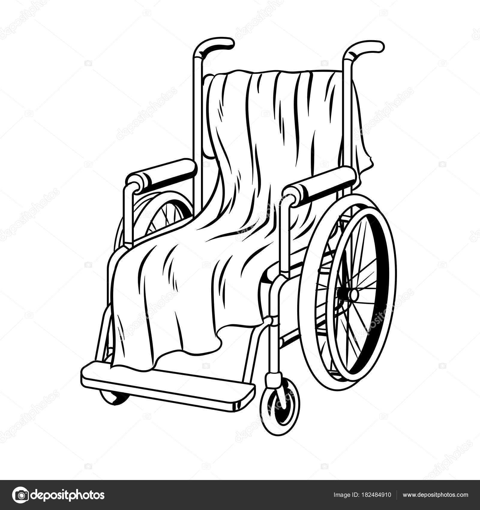 Silla de ruedas con cuadros para colorear vector libro — Vector de ...