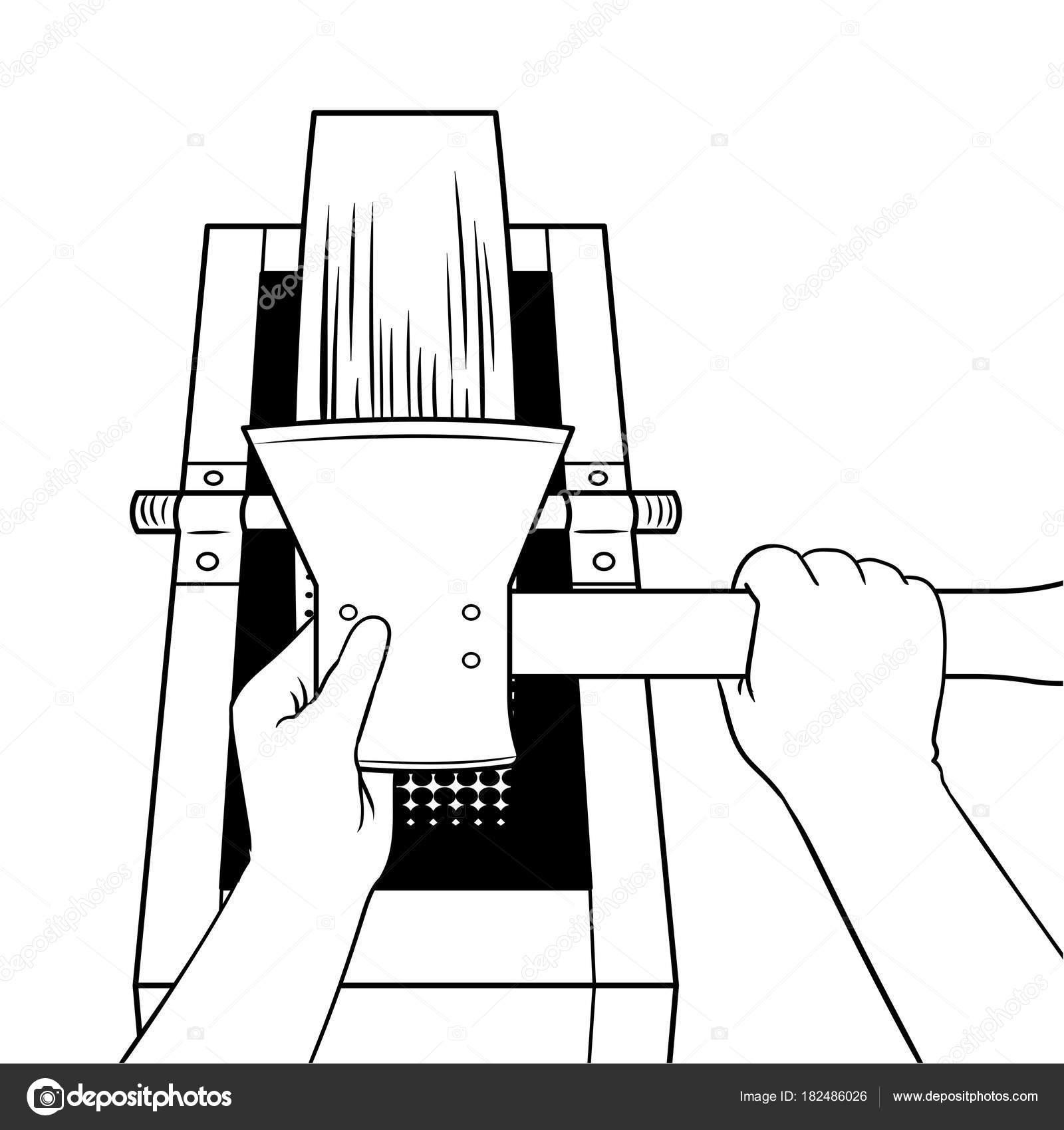 Afilar el hacha de piedra de afilar para colorear vector libro ...