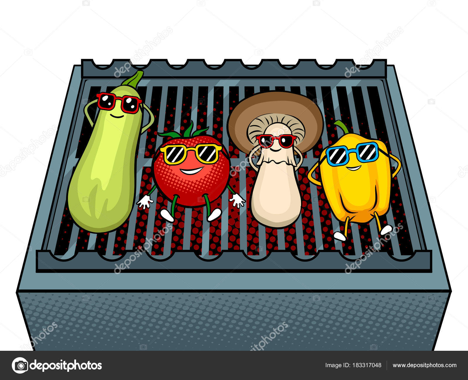 野菜バーベキュー ポップアートのベクトル イラスト ストックベクター