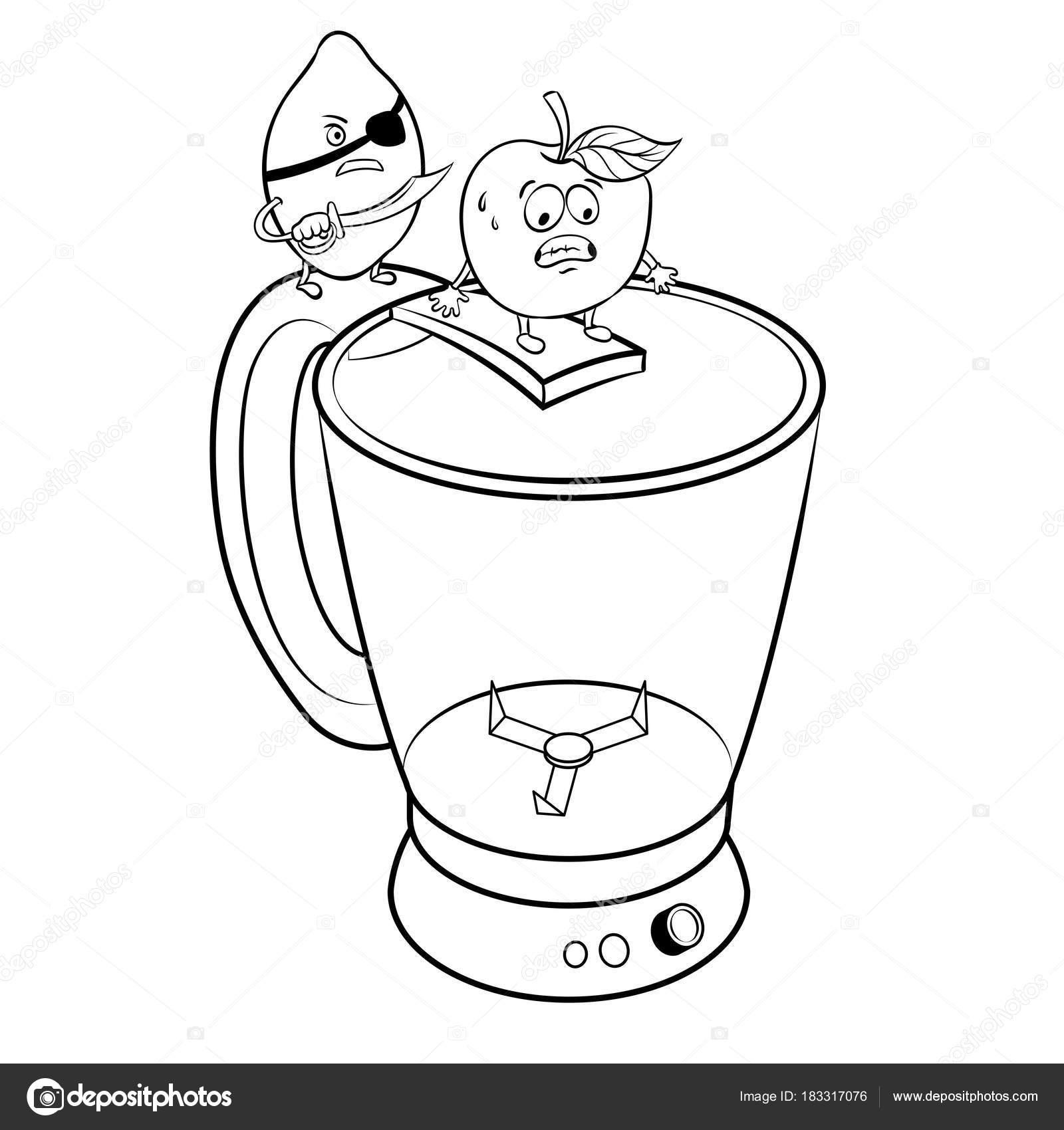 Pirata de limón y manzana para colorear vector libro — Vector de ...