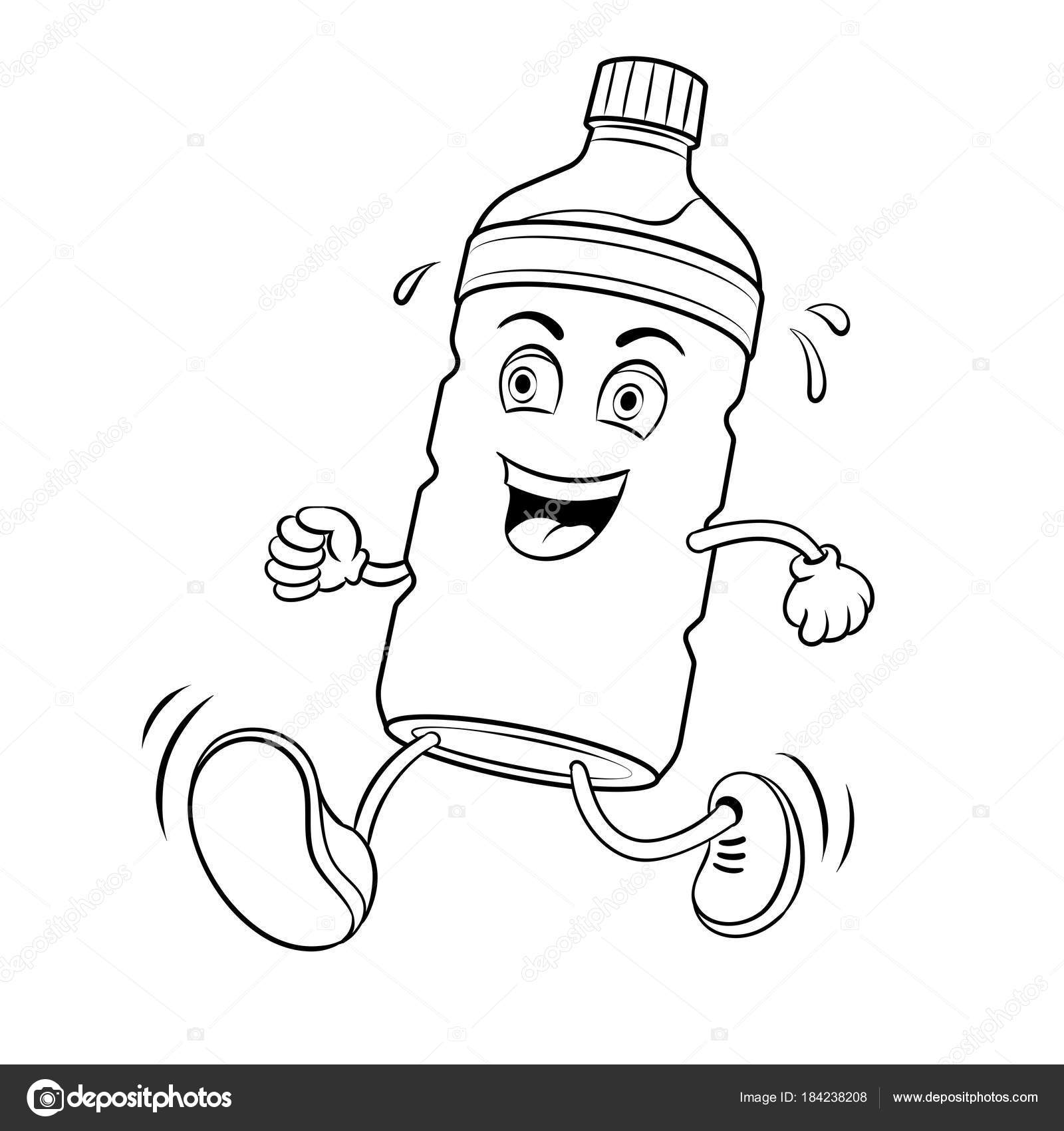 Run bottle of water coloring book vector — Stock Vector ...