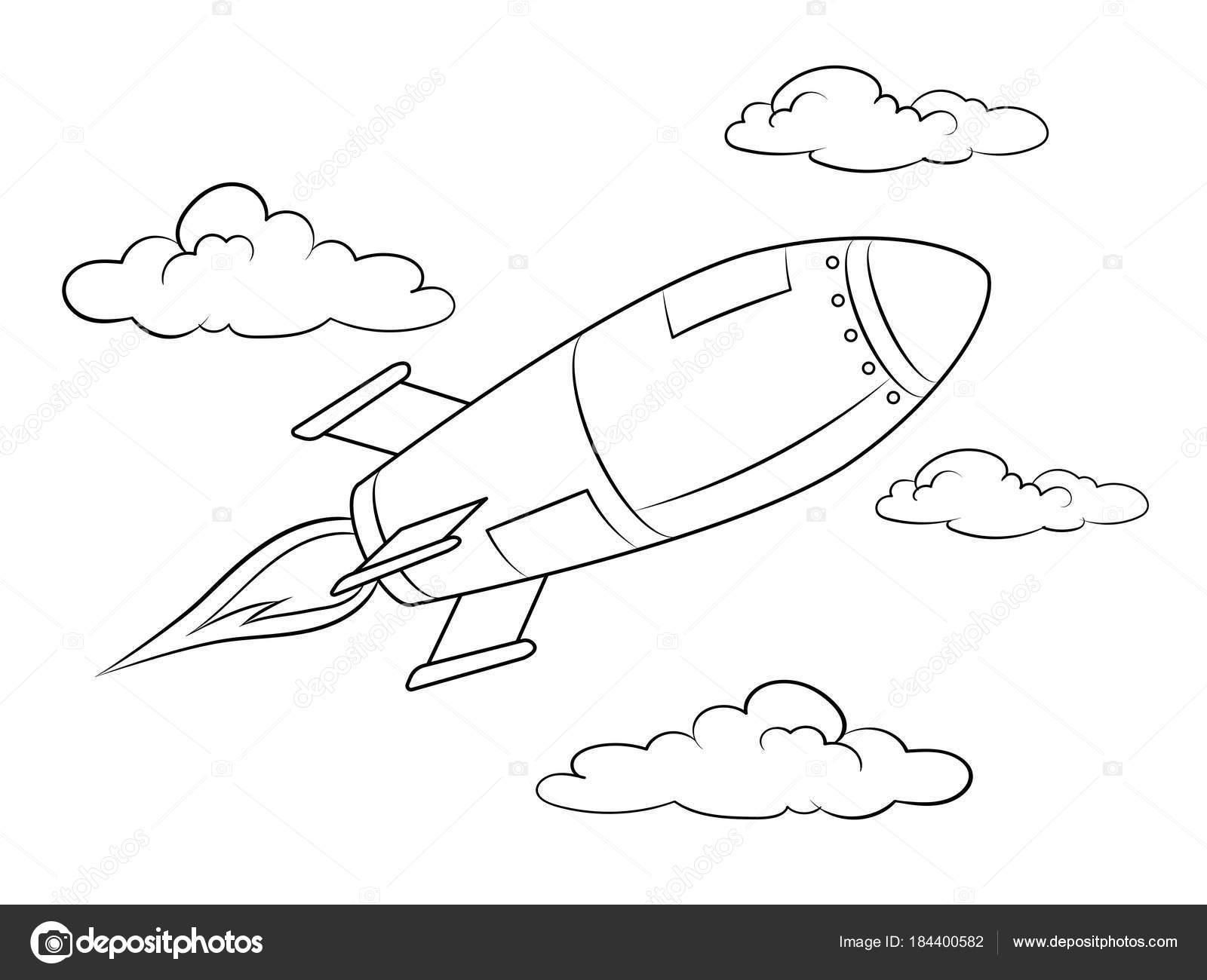 Roket Füze Uçan Boyama Kitabı Vektör Stok Vektör