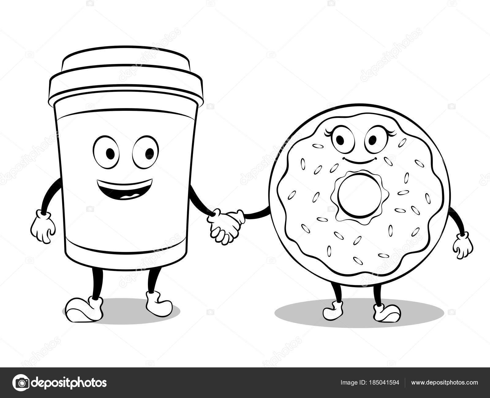 Taza de café y donut vector libro de colorear — Vector de stock ...