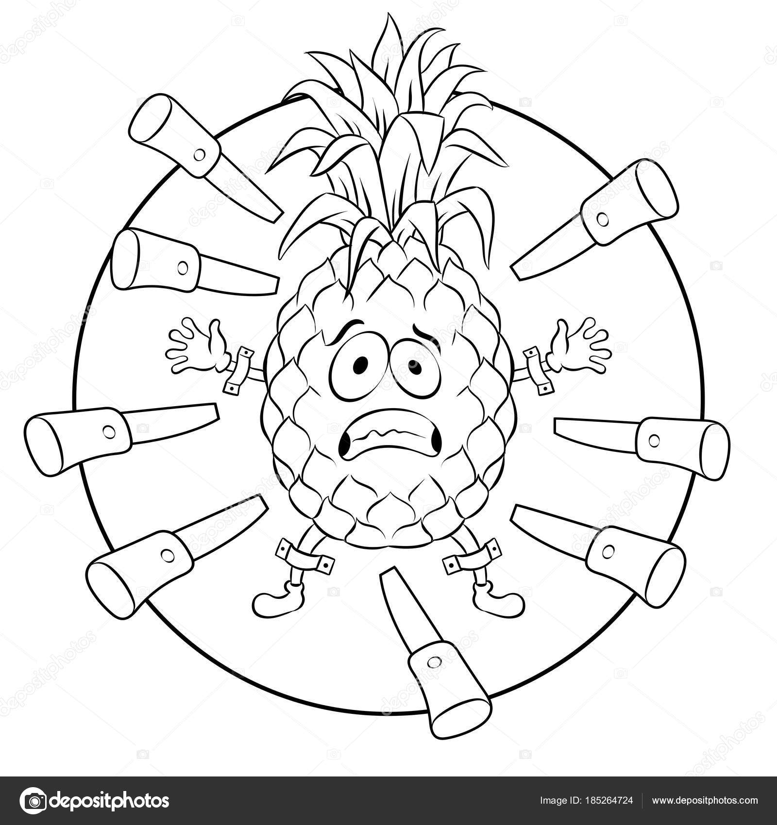 Pineapple target coloring book vector illustration Stock Vector